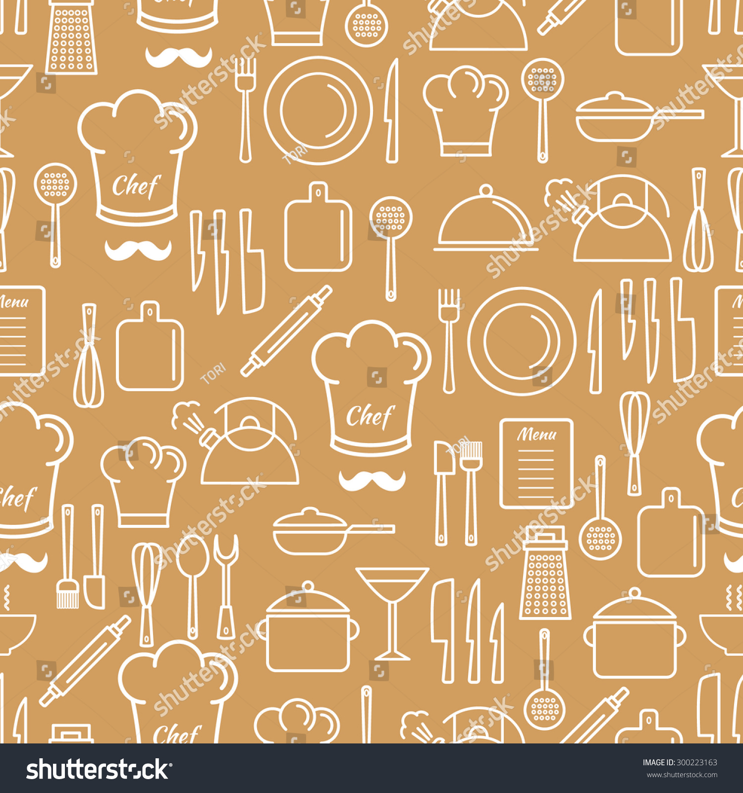 Kitchen Background Design: Cooking Utensil Line Icons Seamless Pattern.Linear Design