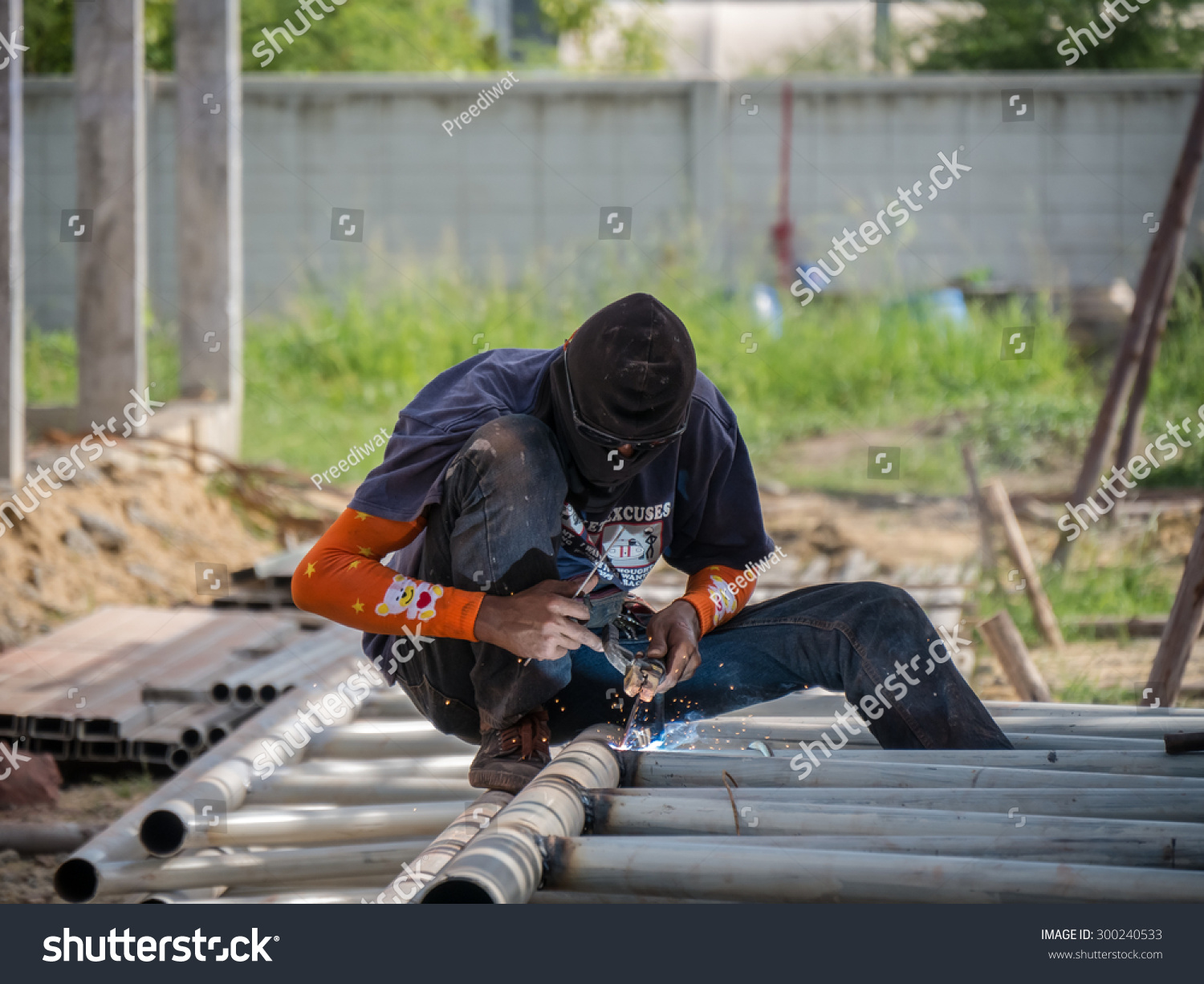 Welding Metal Pipe Together Be Roof Stock Photo 300240533 ...