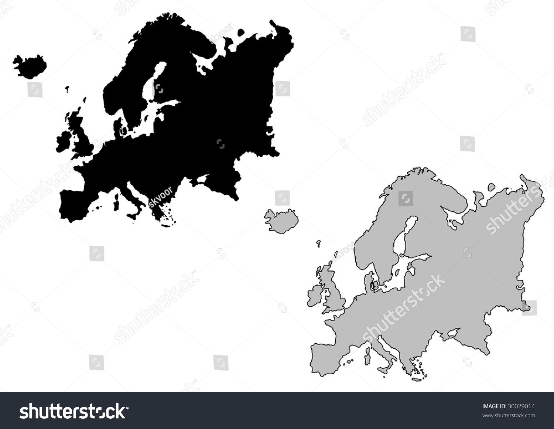 Stock Vector Alliesinteract 11211360: Europe Map Black White Mercator Projection Stock Vector