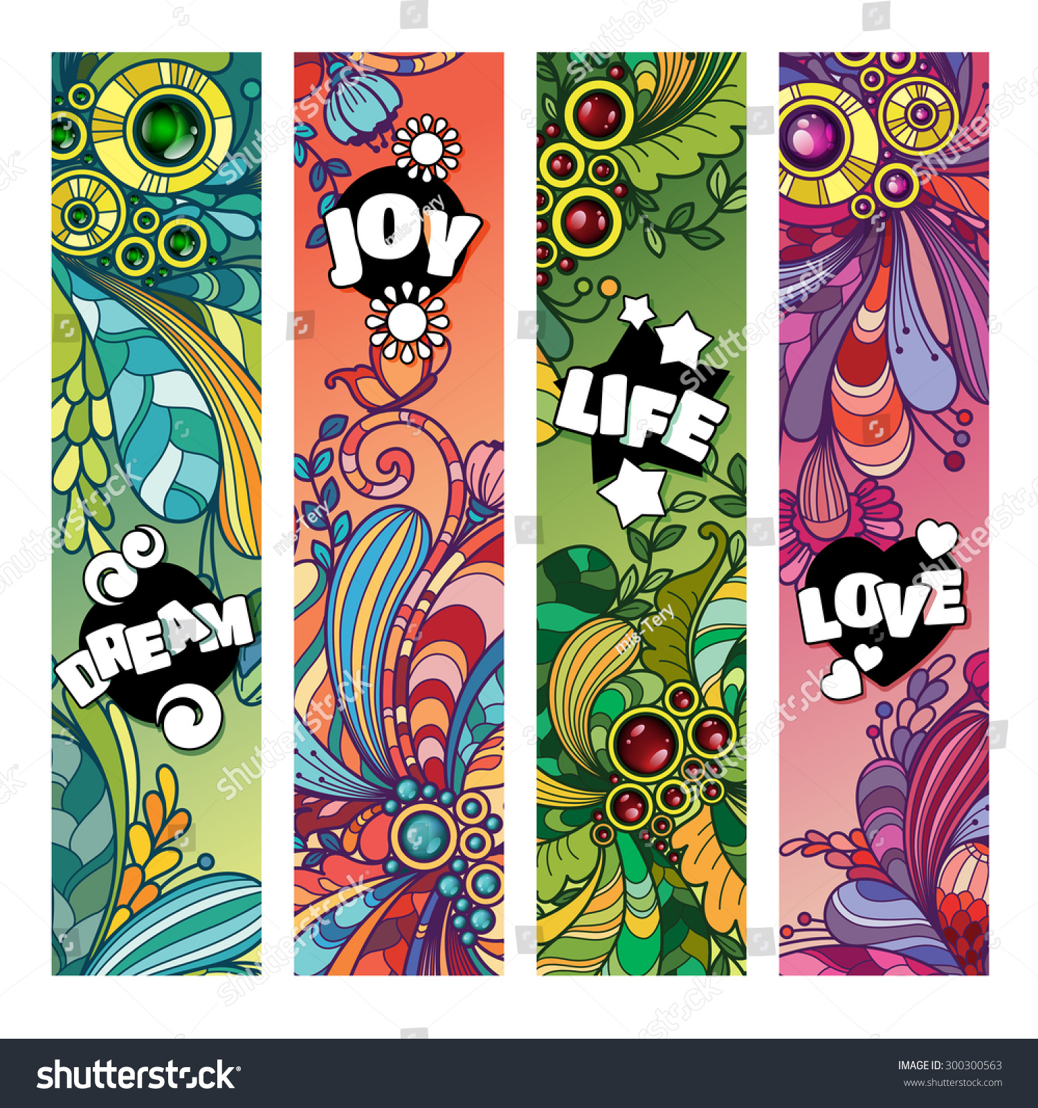 Vector Colorful Banner Bookmark Templates Set Stock Vector ...
