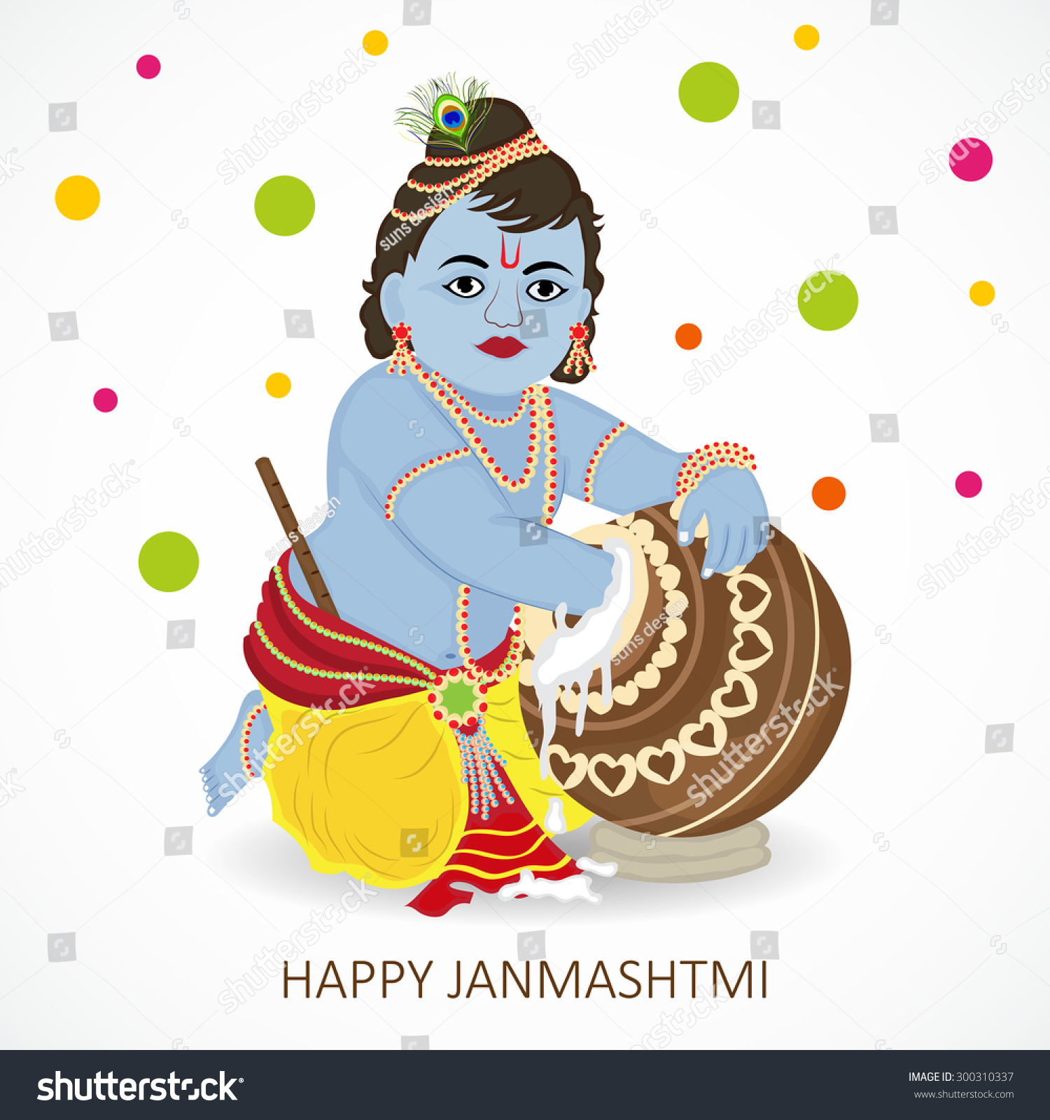 Vector Illustration Baby Krishna Indian Festival Stock Vector ...