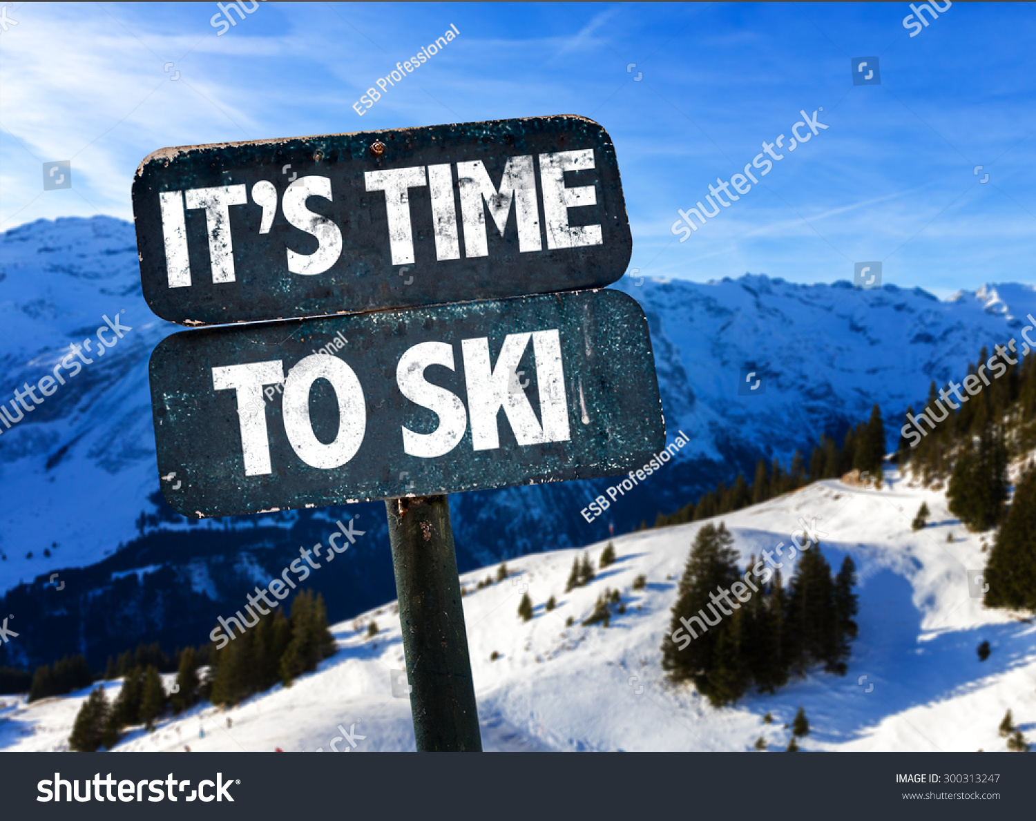 Its time to ski sign with sky background stock photo 300313247