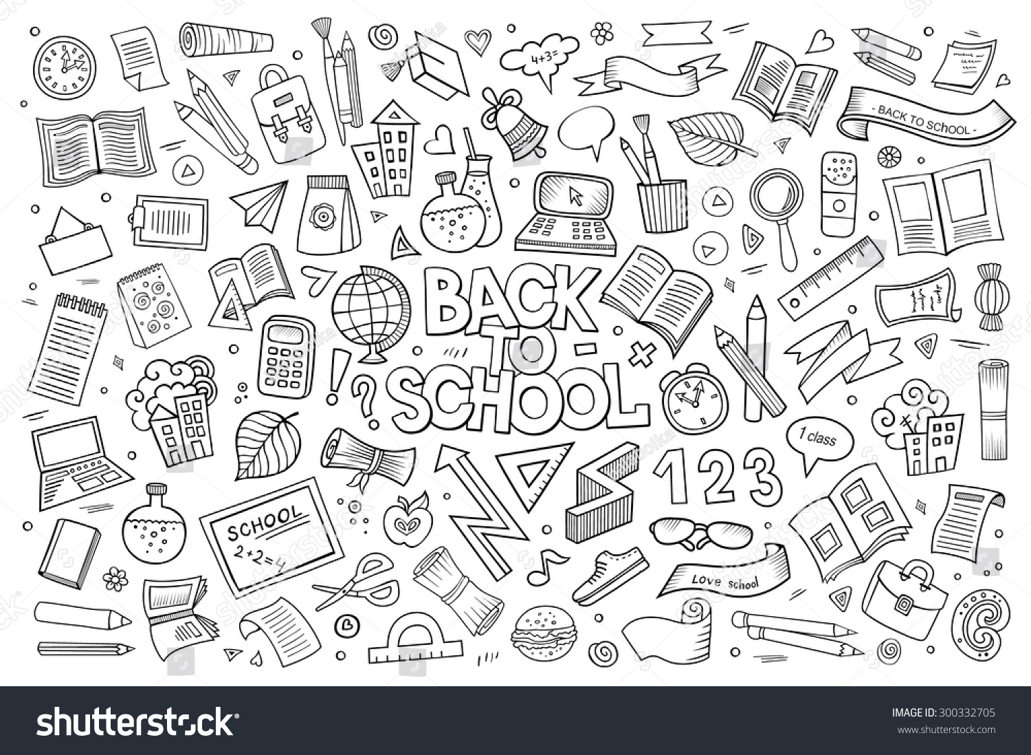 Notebook And Pen Sketch Stock Vector Art More Images Of: School Education Doodles Hand Drawn Vector Stock Vector