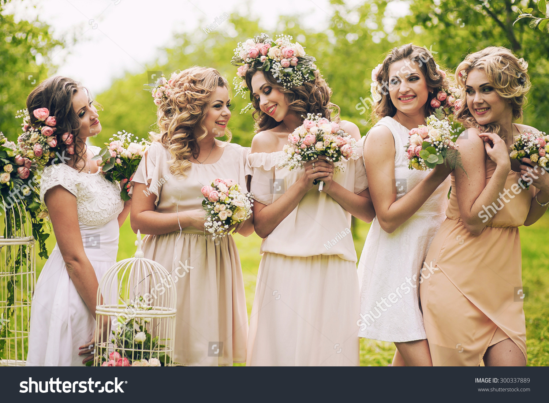 beautiful girls hen party flowers stock photo 300337889 shutterstock