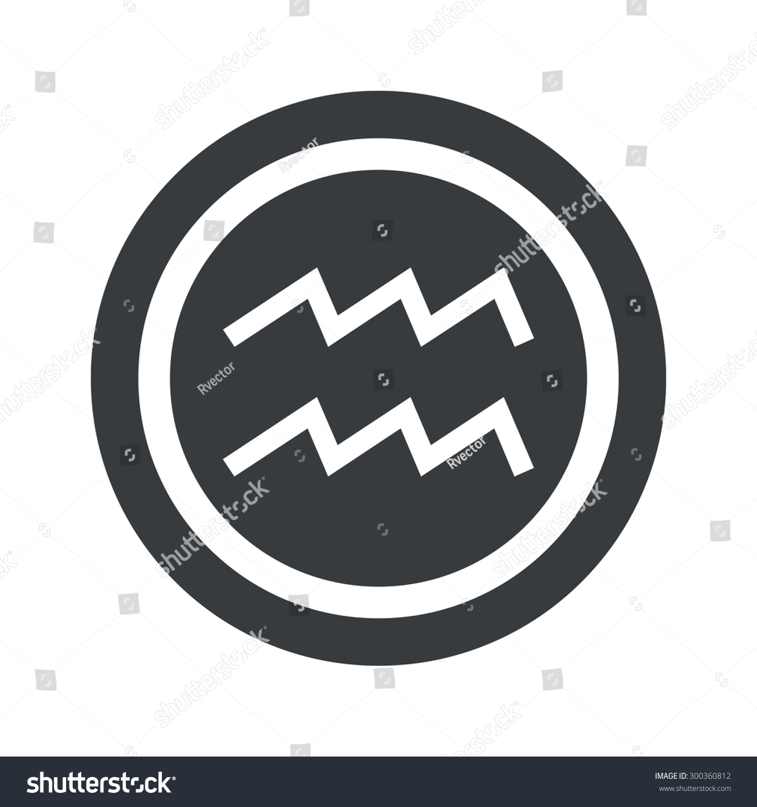 Image Aquarius Zodiac Symbol Circle On Stock Illustration 300360812