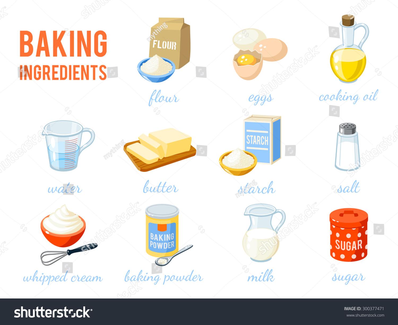 Baking Ingredients Clipart Set Of Cartoon ...