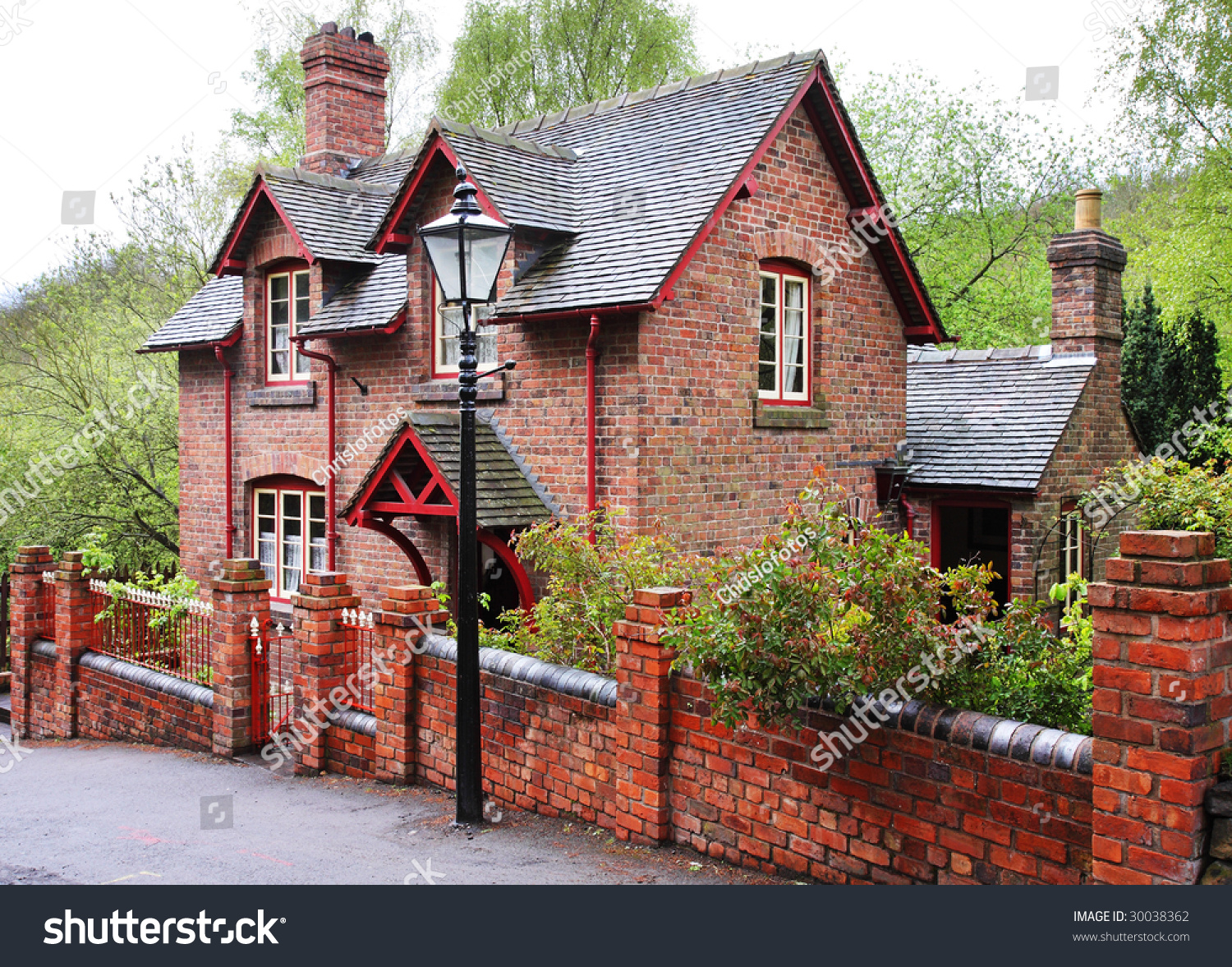 Victorian Red Brick English Village House Stock Photo
