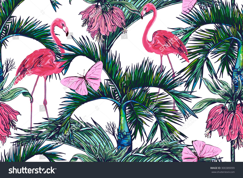 Tropical flower print wallpaper