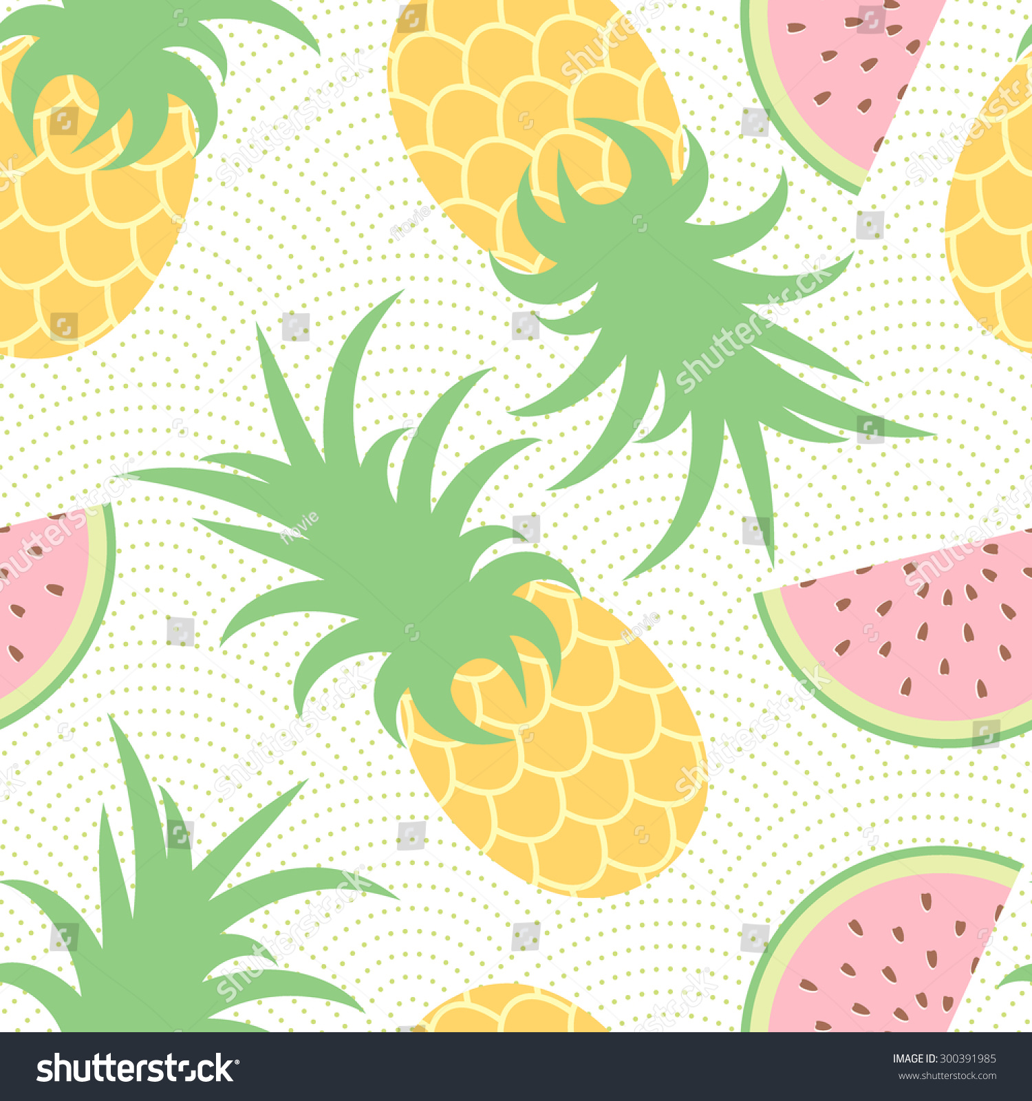 Pineapple And Watermelon. Summer Pattern. Seamless ...