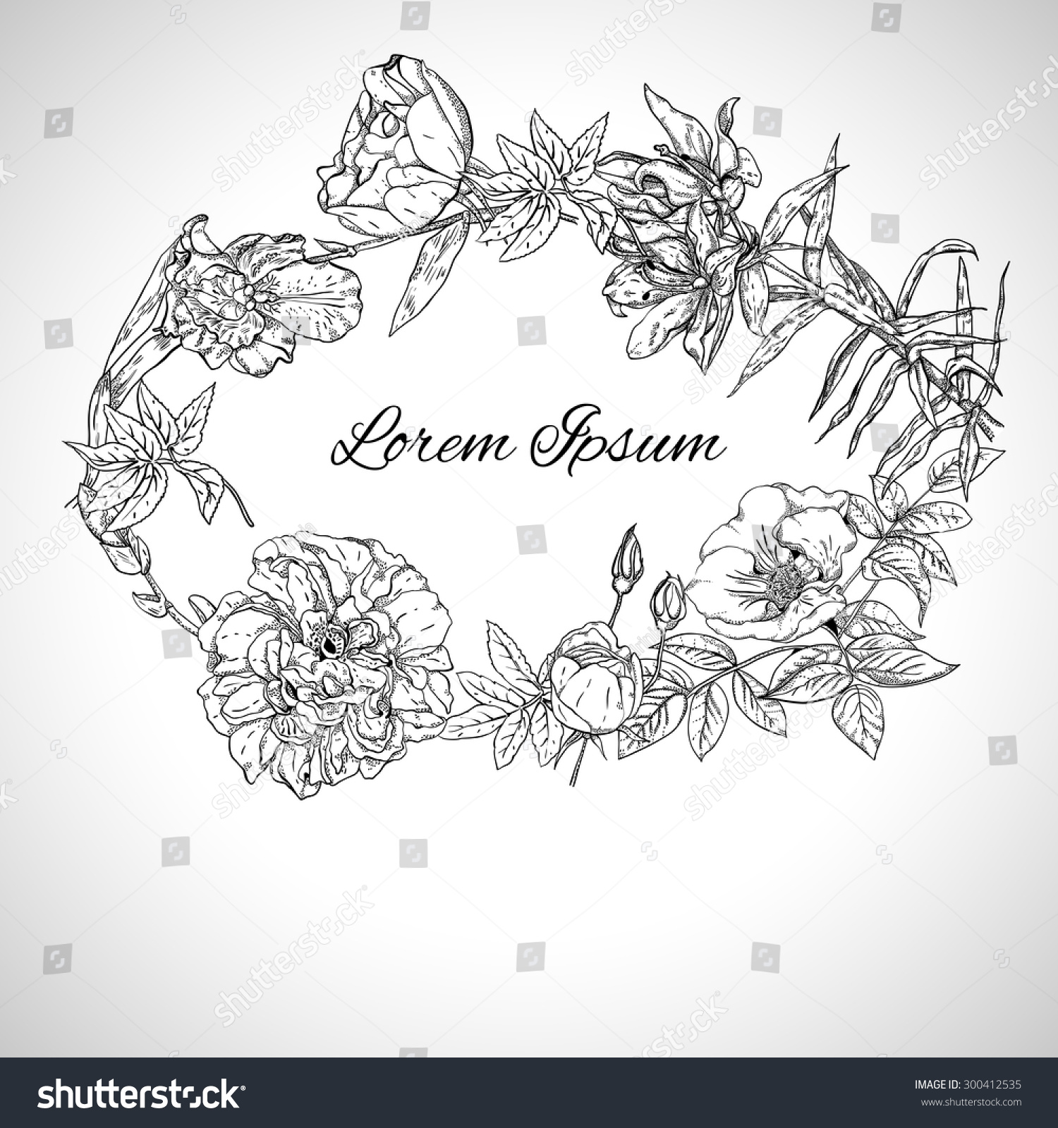 Line Art Text : Wreath flowers space text line art stock vector