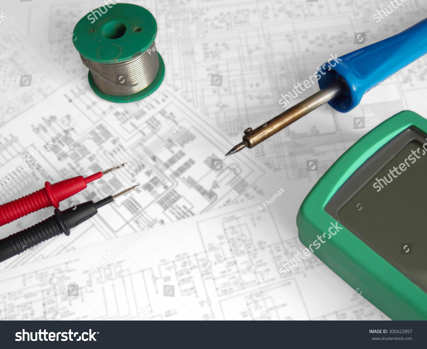 Electronics Electrician Engineer Wiring Diagrams Tools Stock Photo Edit Now 300422897
