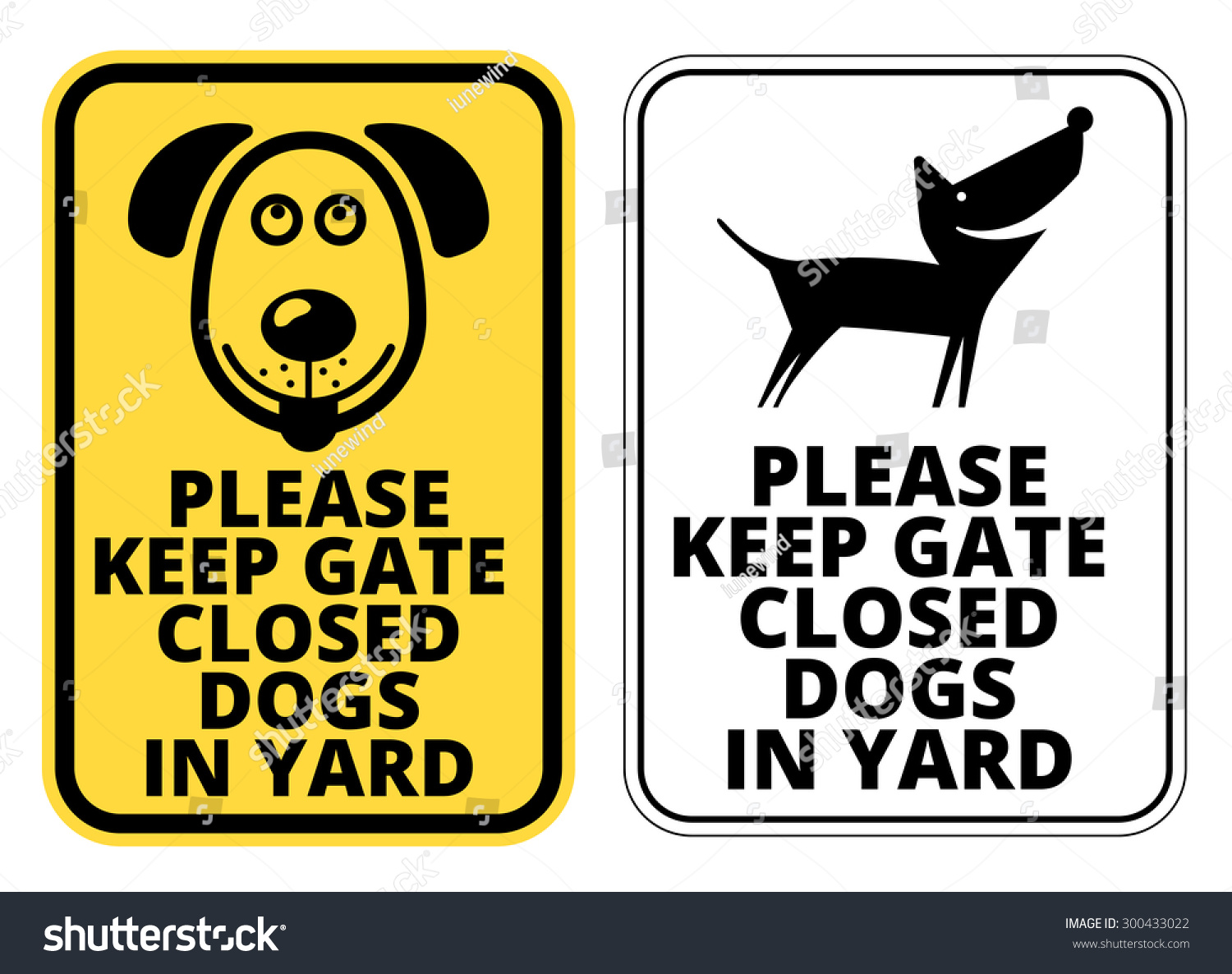 keep gate closed dog yard signs stock vector 300433022 - shutterstock