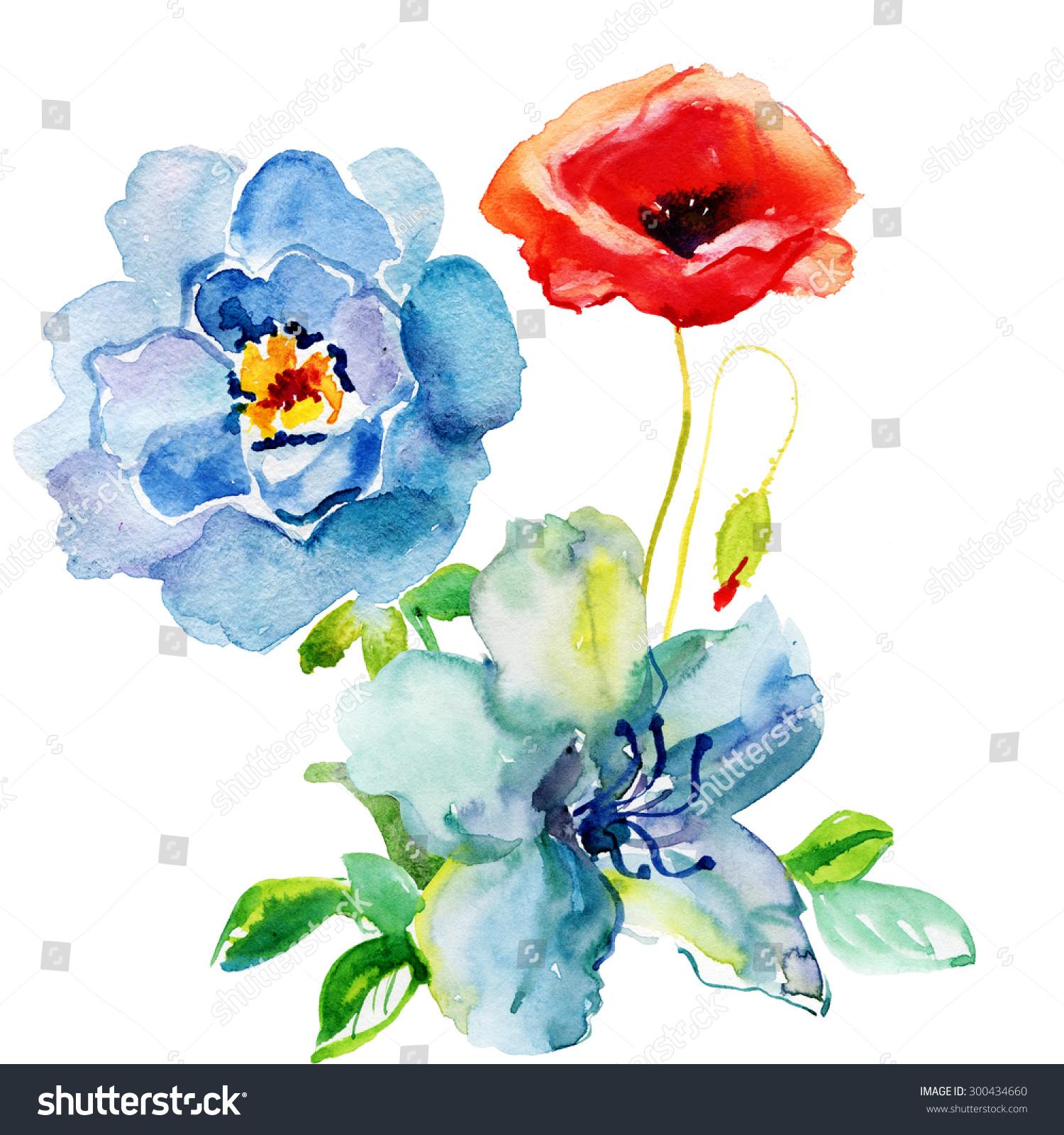 Beautiful Flowers Watercolor Painting Ez Canvas