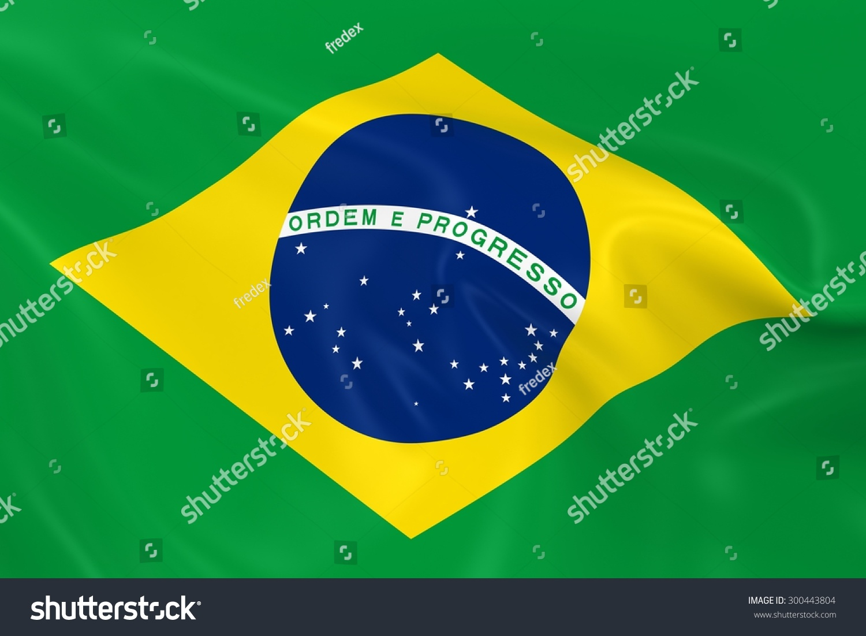 flag brazil 3 d render brazilian flag stock illustration 300443804