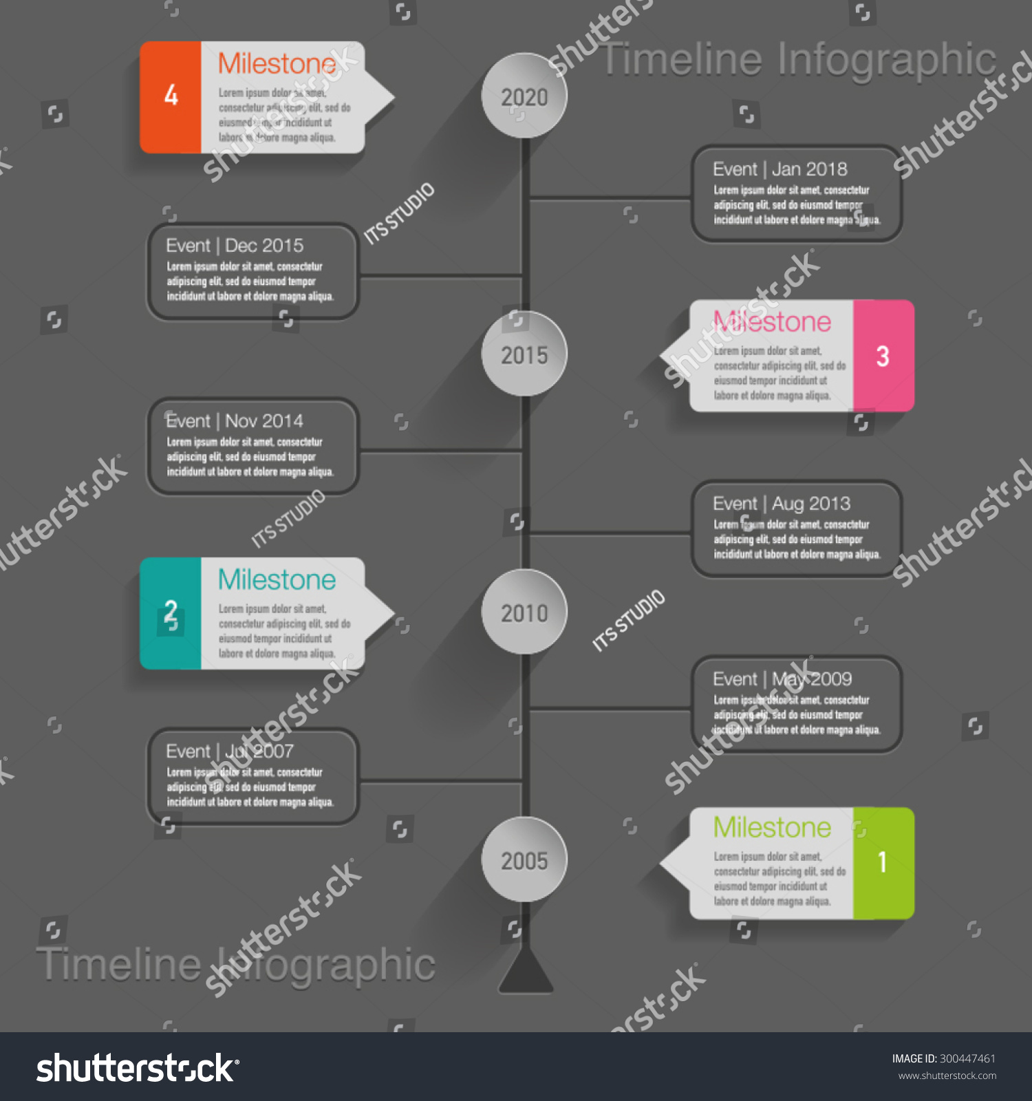 Timeline Infographic Labels Diagrams Buttons Text Stock Vector 300447461