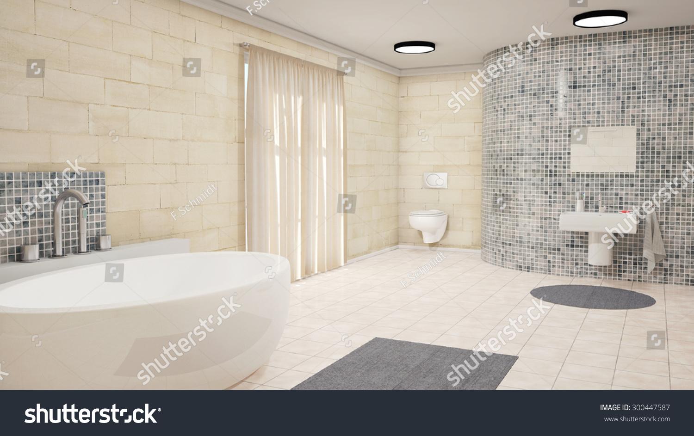 Modern Bathroom Bath Tube Toilette Stock Illustration 300447587 ...