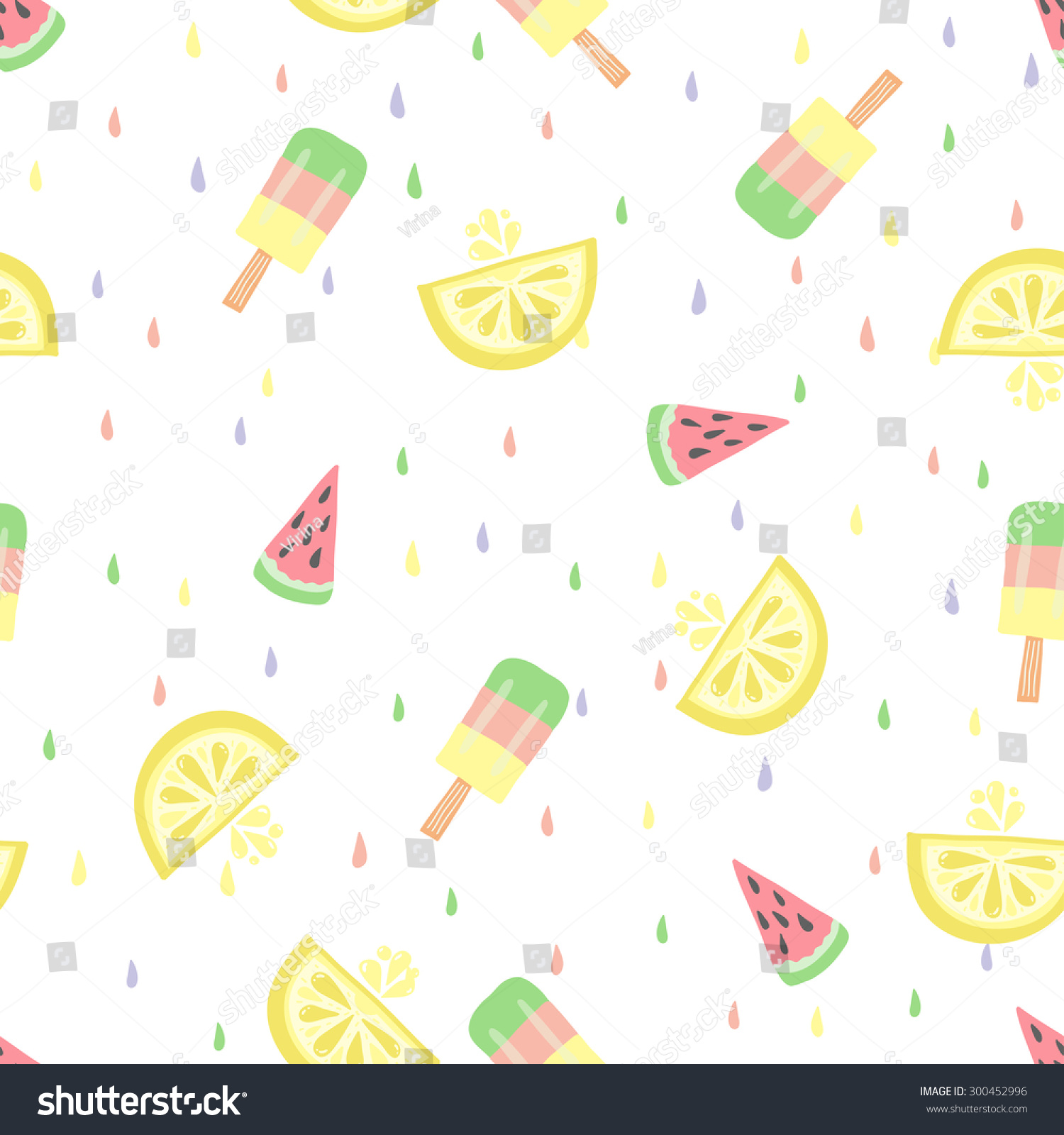 Pattern Cute Colorful Ice Cream Textiles Stock Vector: Cute Funny Seamless Pattern Summer Strawberries Stock