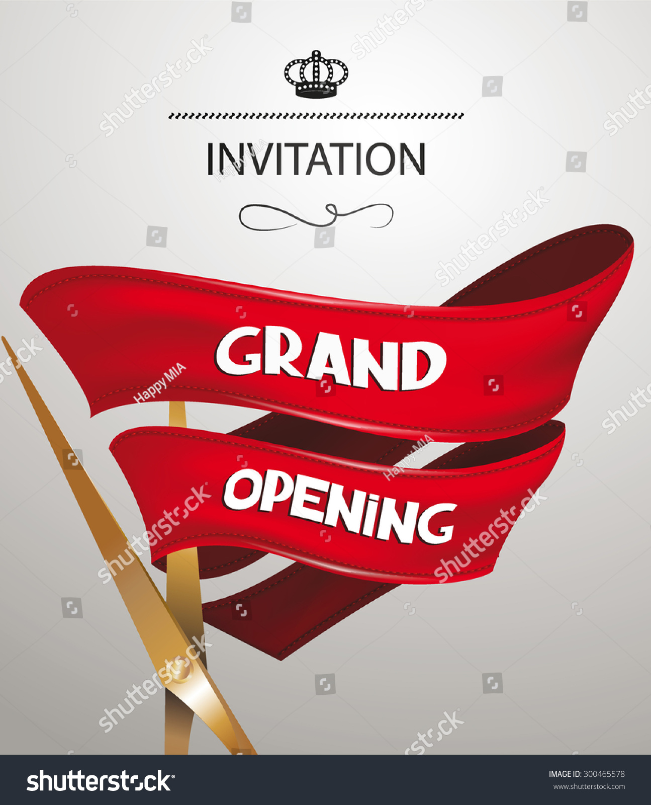 Grand Opening Invitation Card Scissors Red Vector 300465578 – Grand Opening Invitation Cards