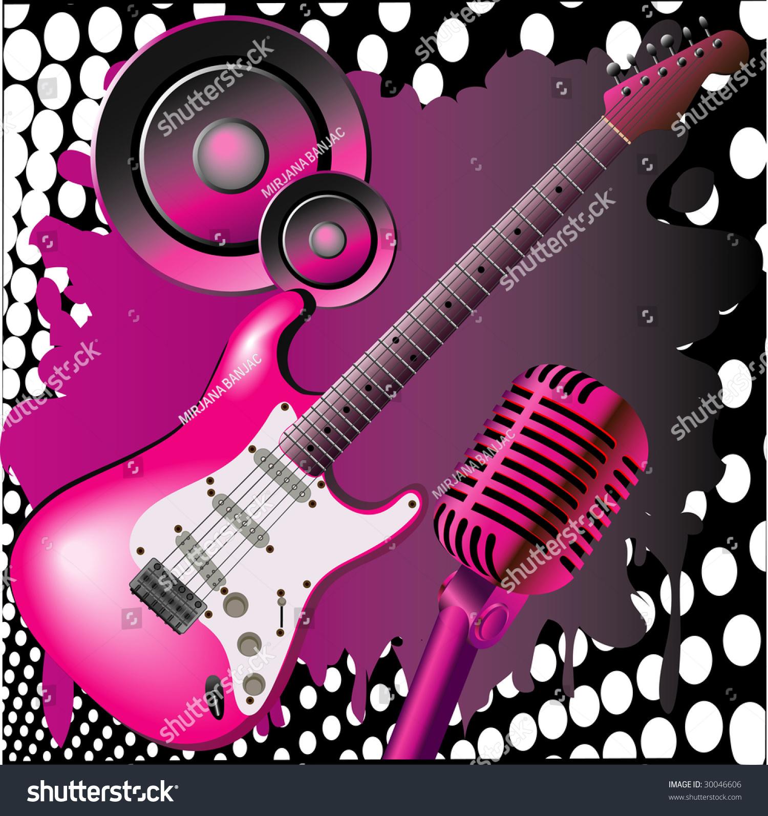 wallpaper music guitar pink - photo #7