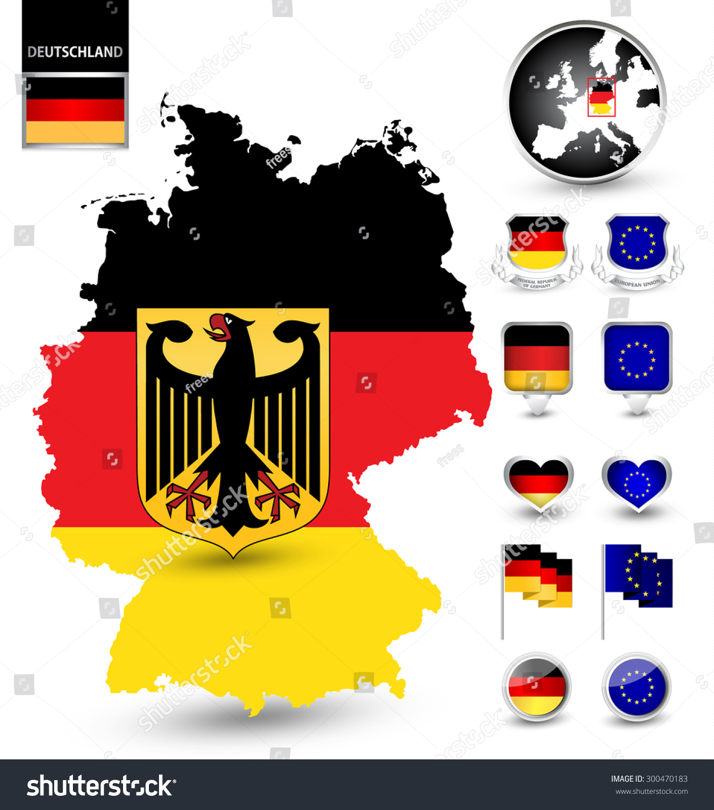 Patriotic Symbol Set Germany Mapglobeshield Pin Stock Vector
