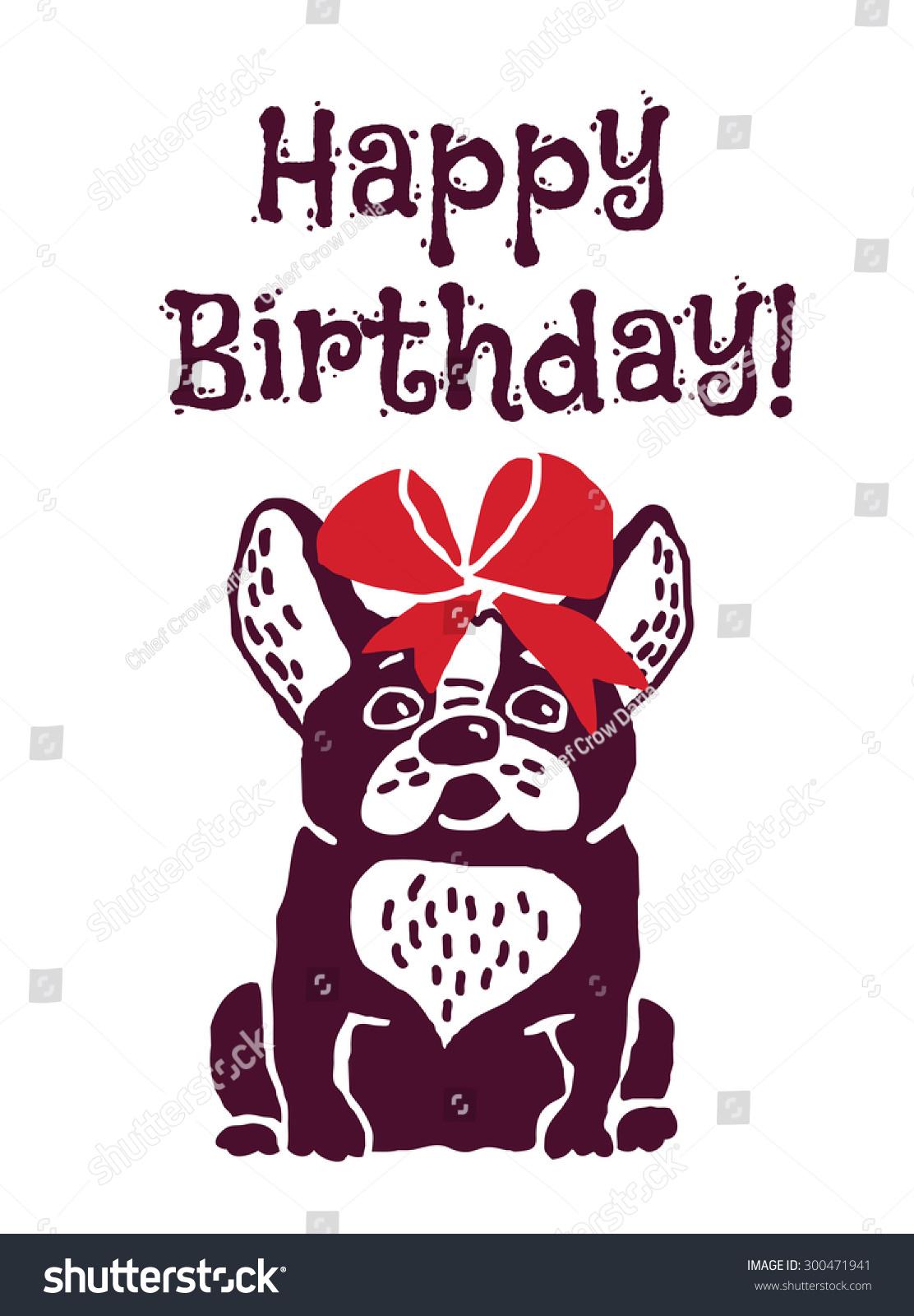 Dog Present Greeting Card Happy Birthday Vector 300471941 – Happy Birthday Greetings in French