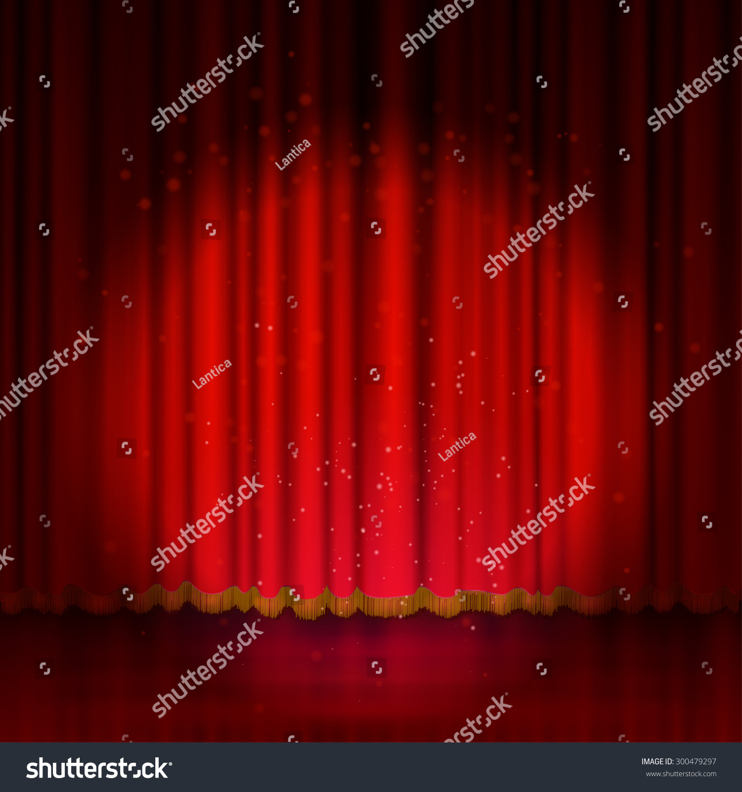 Stage curtains spotlight - Spotlight On Red Stage Curtain Vector Illustration