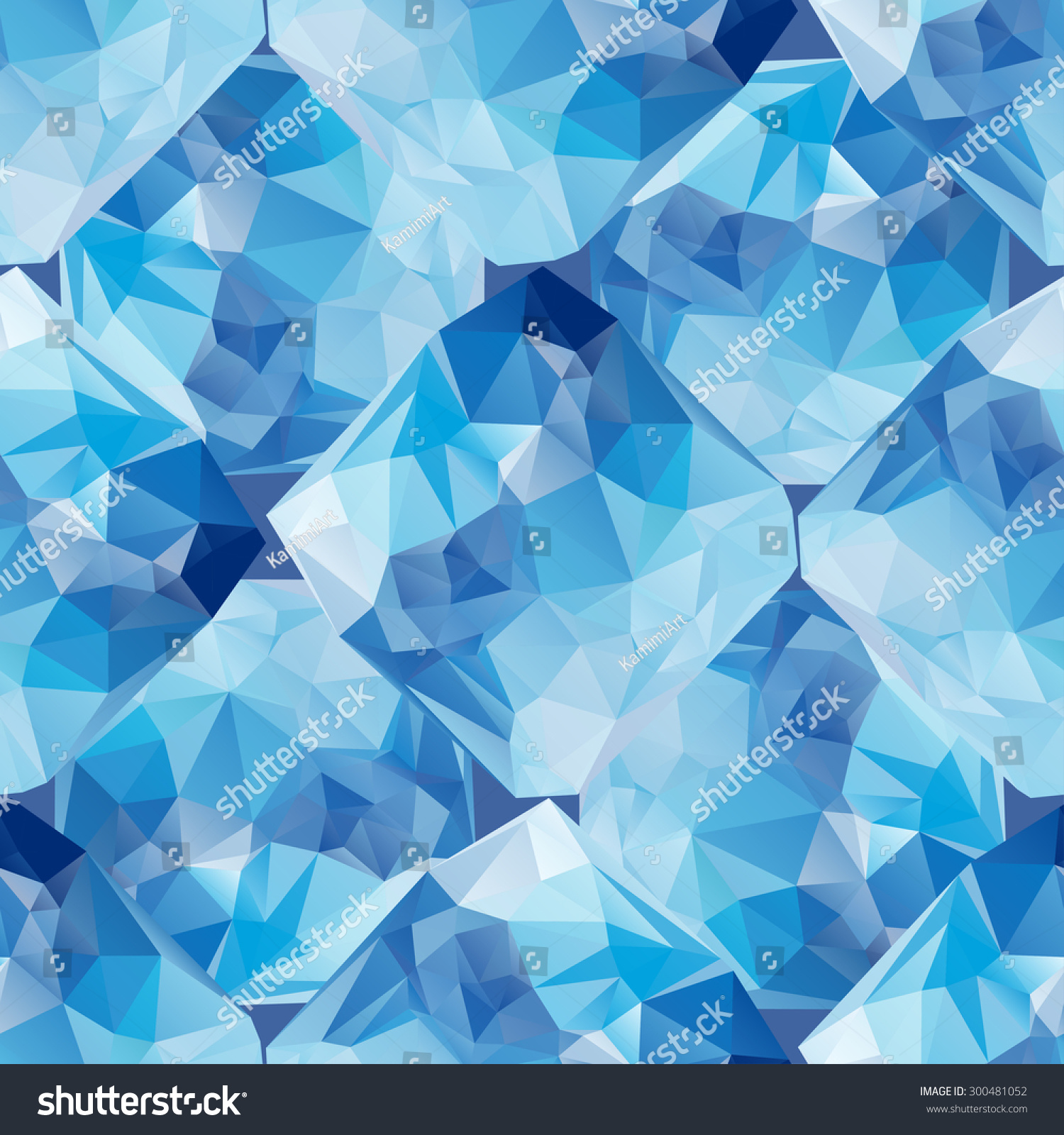 low poly seamless pattern blue geometrical stock vector