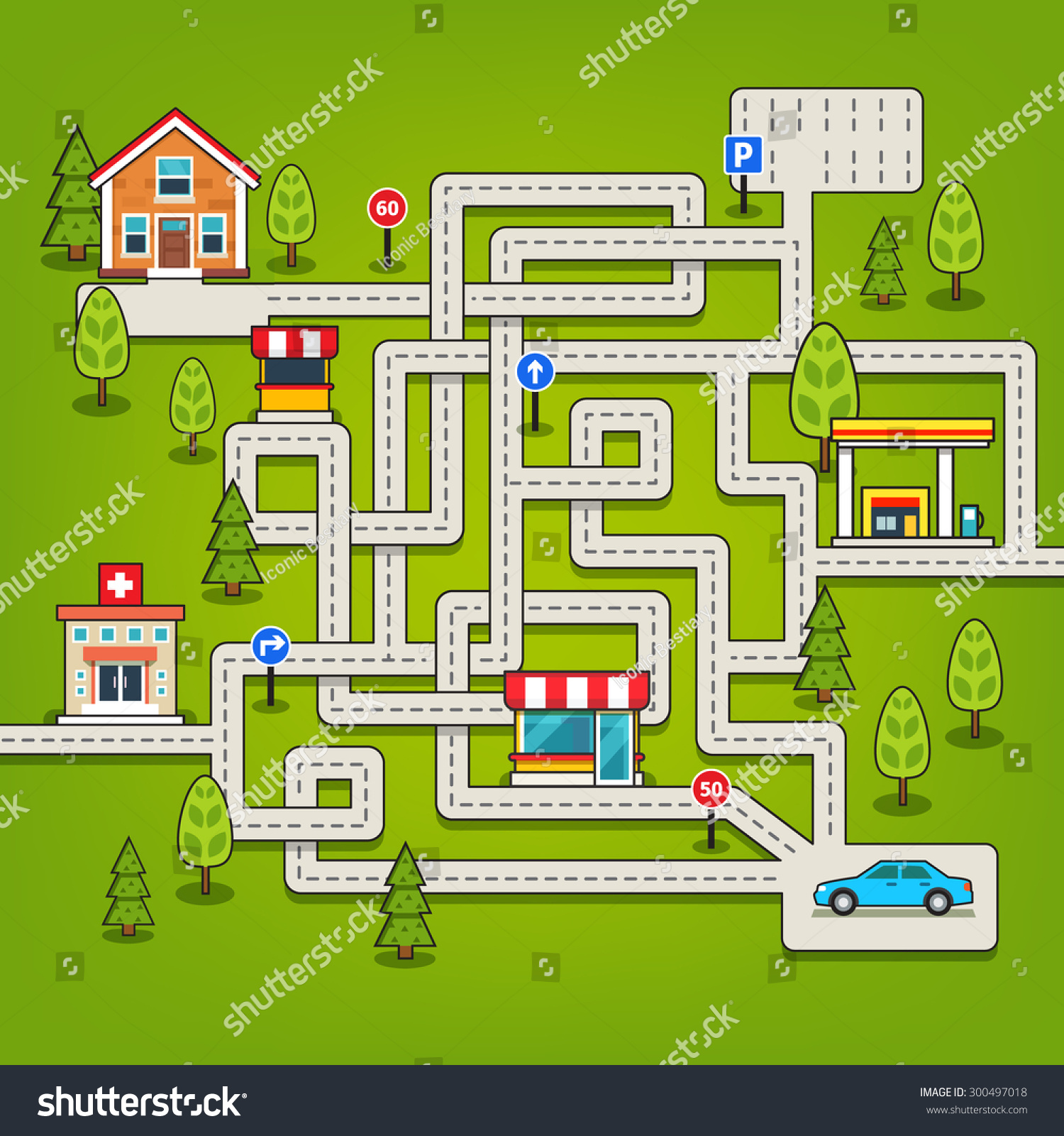 Maze game roads trees car parking stock vector 300497018 maze game with roads trees car parking store hospital gas biocorpaavc