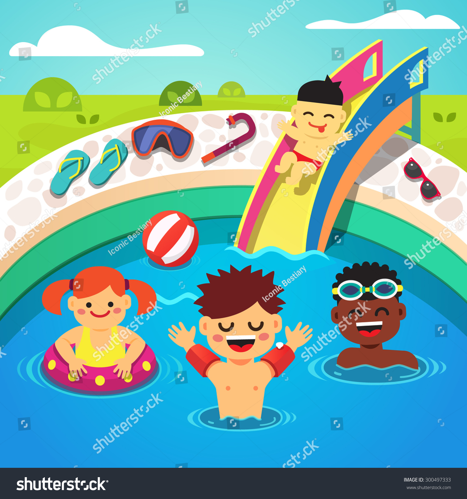 Kids Swimming Cartoon kids having pool party happy swimming stock ...