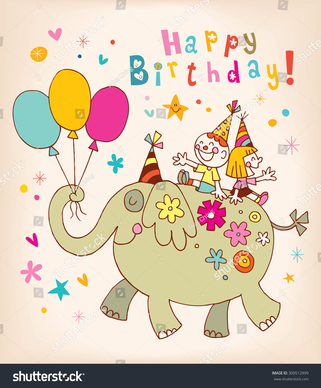 Happy birthday kids greeting card stock vector 300512999 happy birthday kids greeting card bookmarktalkfo Choice Image