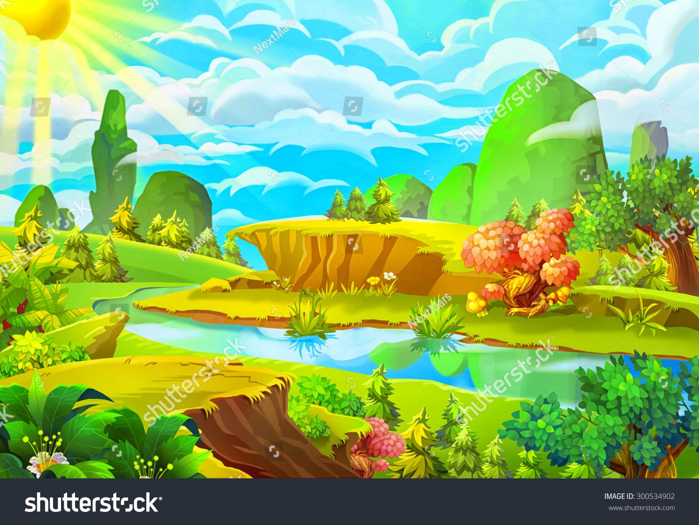 Illustration sun river cartoon style nature stock for Carson bosque y jardin