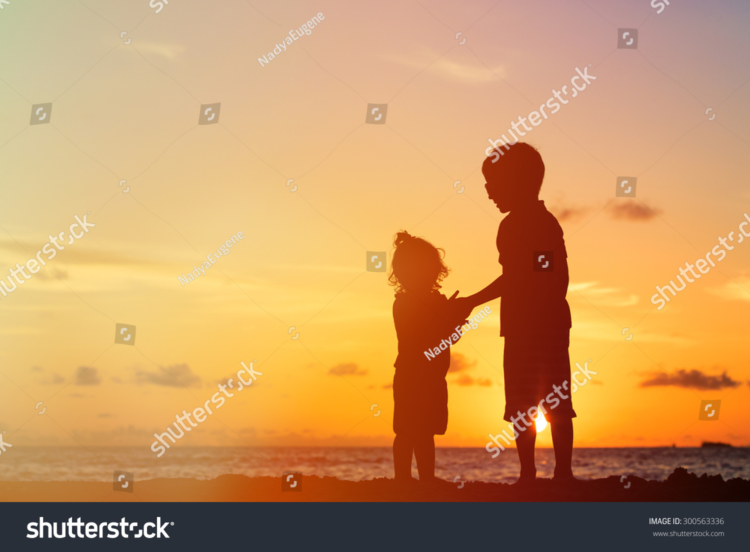 Little Boy Girl Holding Hands Sunset Stock Photo Edit Now