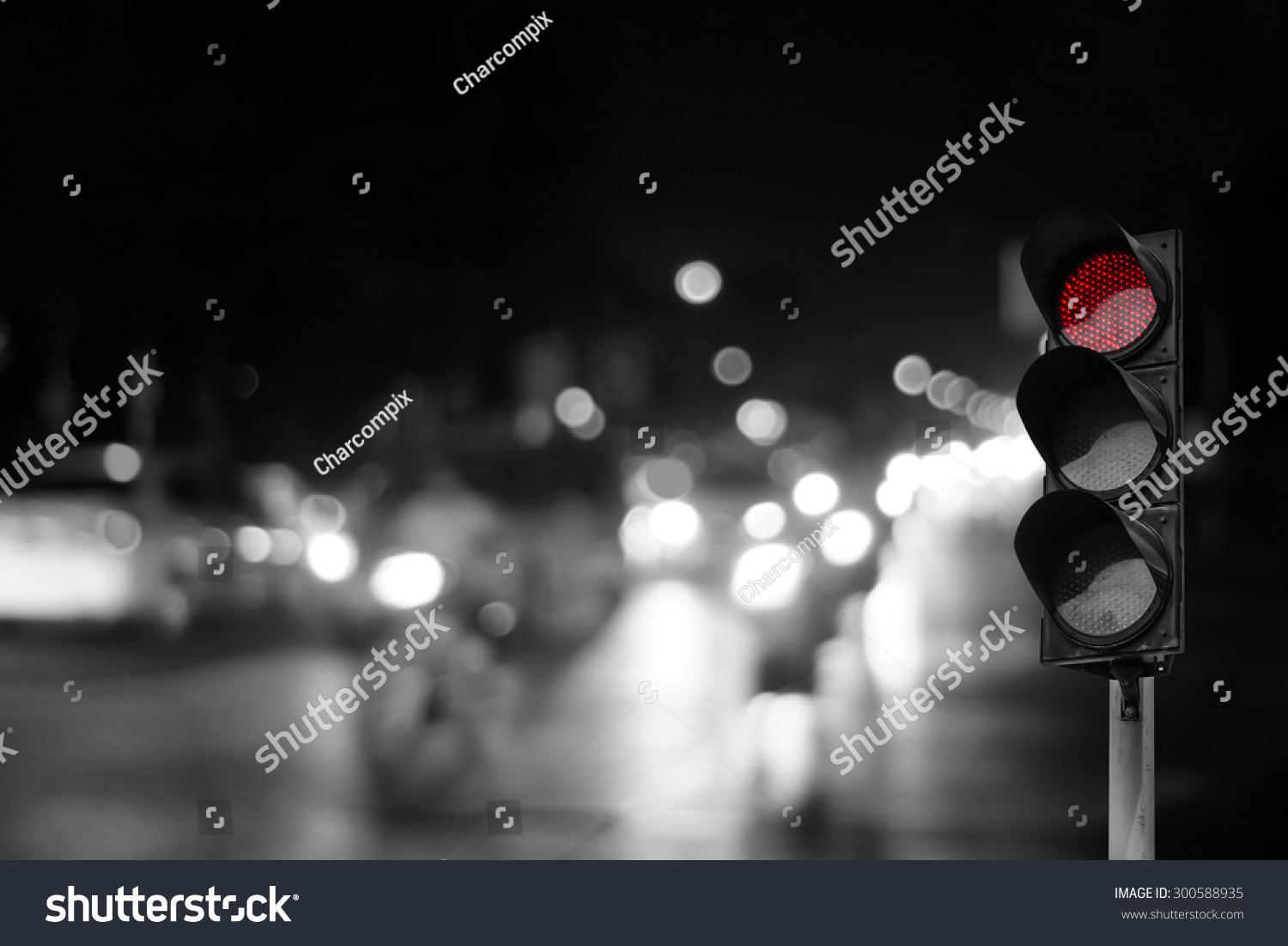 Red Traffic Light On Road Night Stock Photo 300588935 - Shutterstock for Traffic Light On Road At Night  146hul