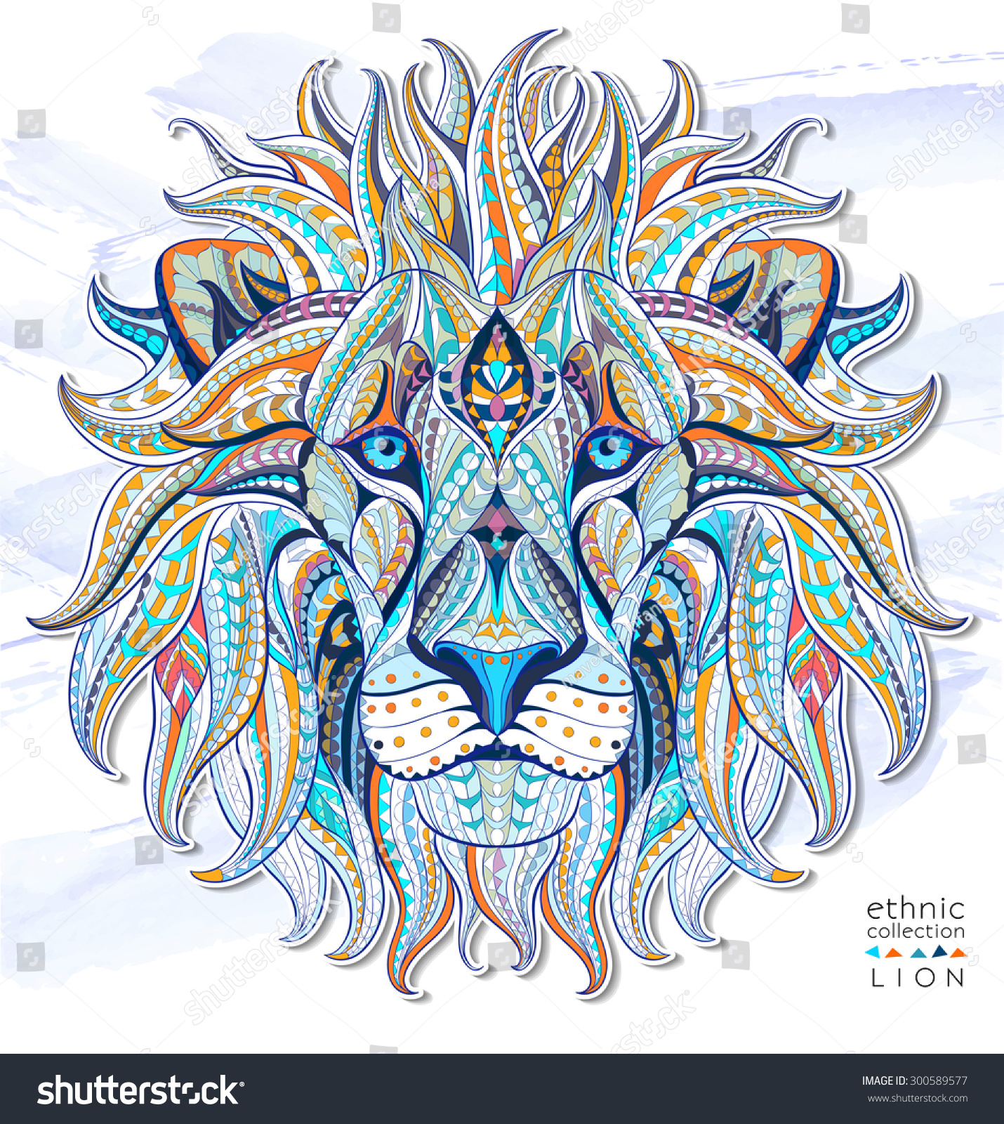 Tattoo Designs Background: Patterned Head Of The Lion On The Grunge Background