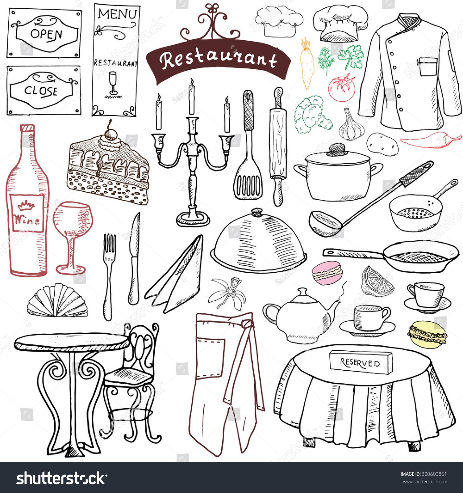 White apron menu - Restaurant Sketch Doodles Set Hand Drawn Elements Food And Drink Knife Fork