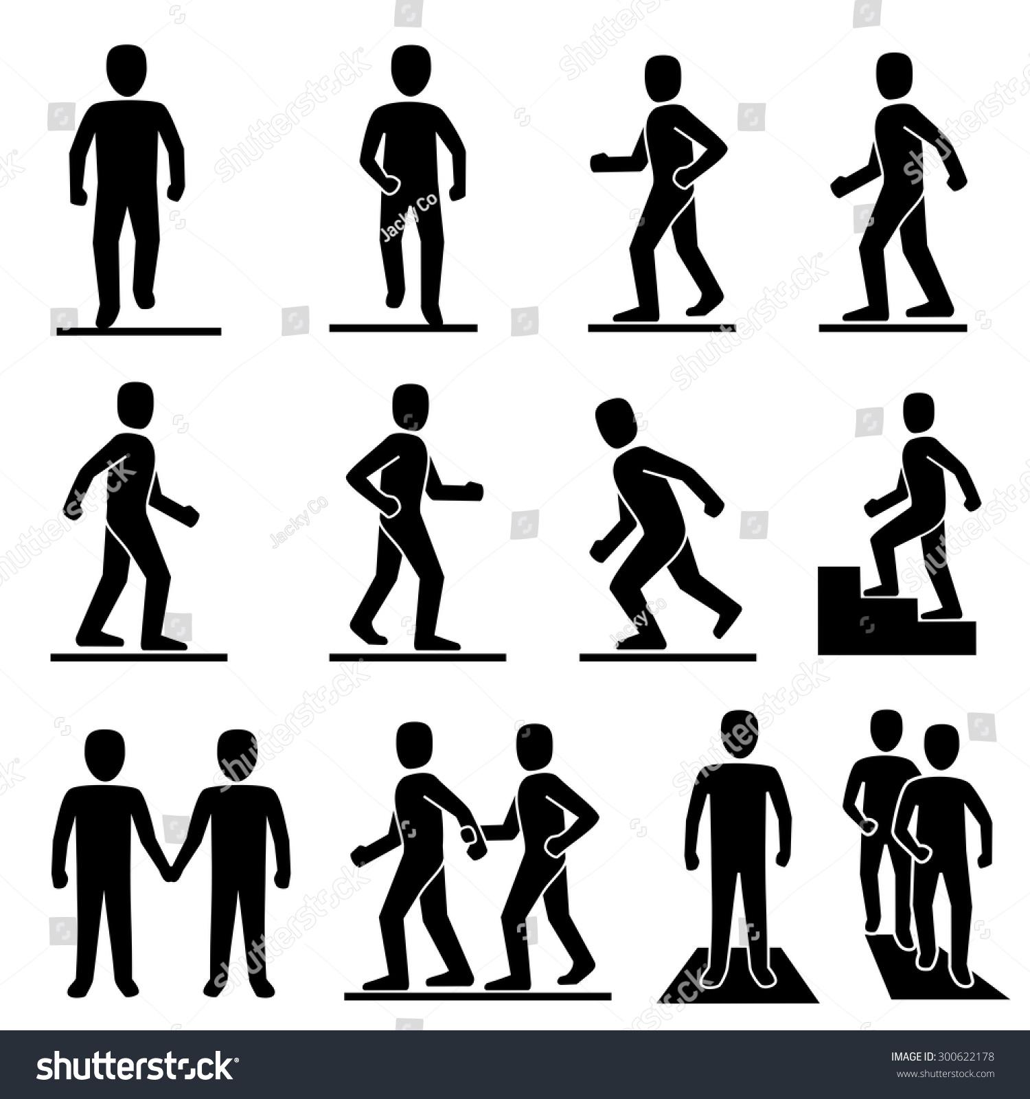 People Walking Icons Vector 库存矢量图 300622178 - Shutterstock