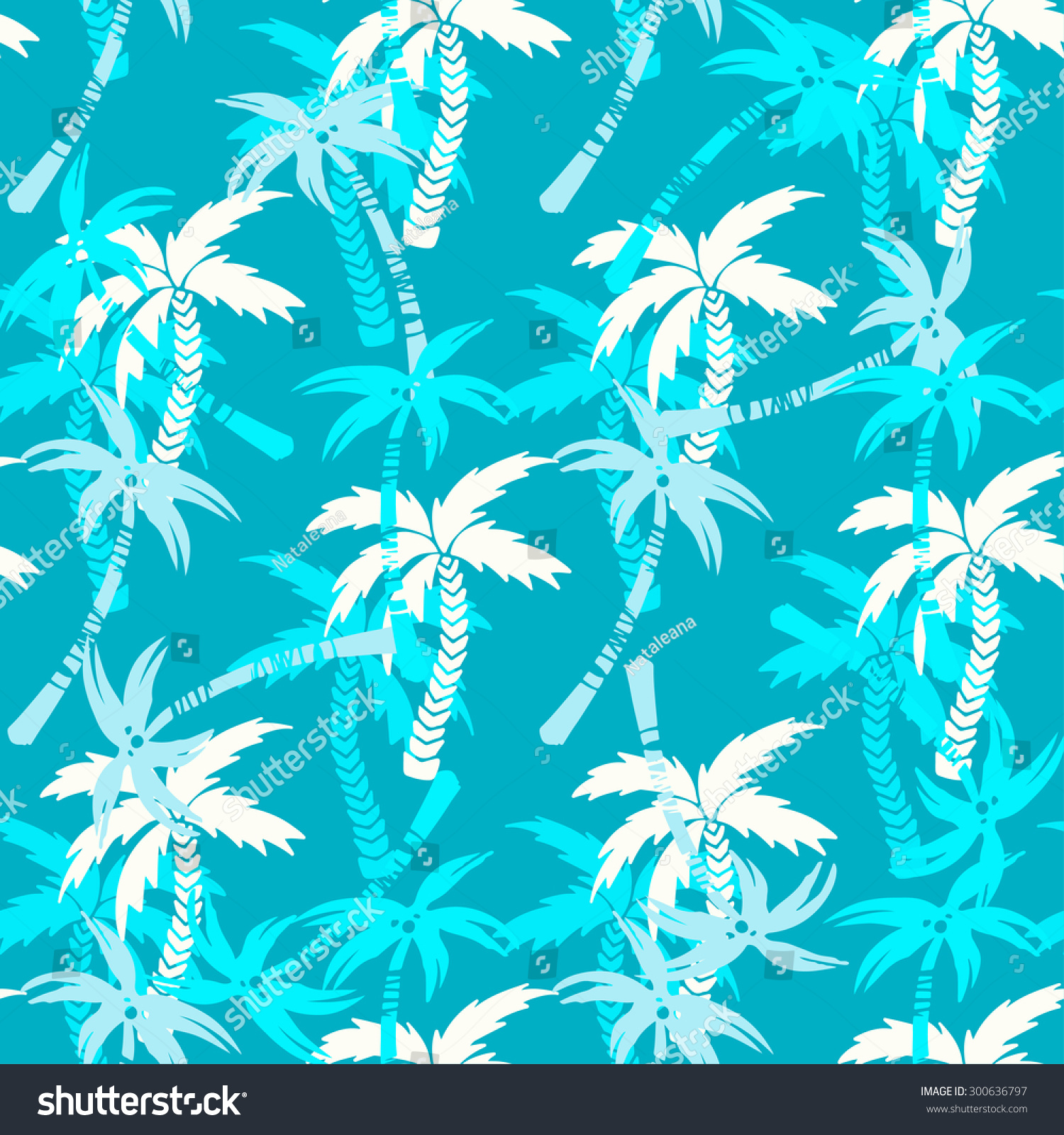 Seamless Pattern Silhouettes Tropical Coconut Palm Stock