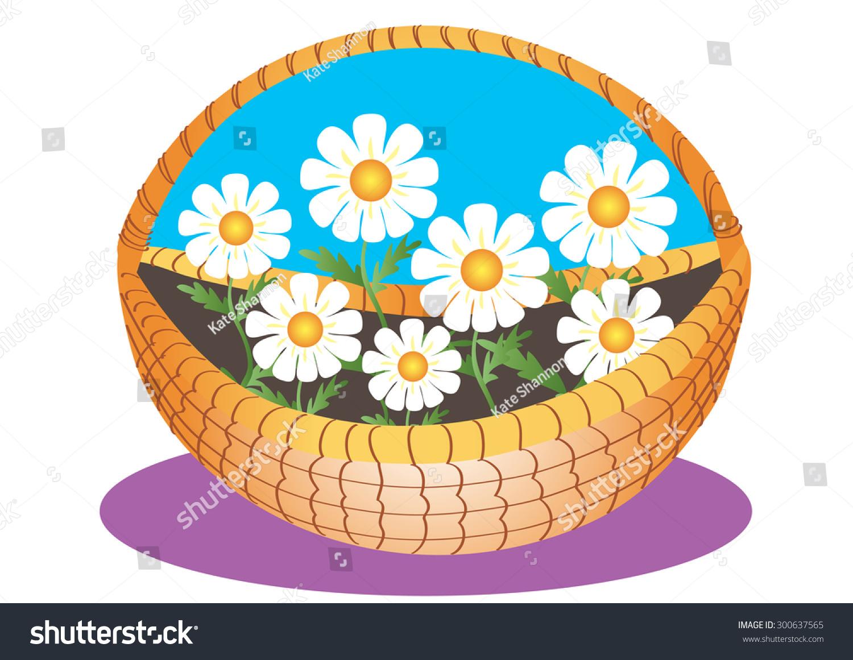 Cartoon illustration daisy flowers wicker basket stock vector hd a cartoon illustration of daisy flowers in a wicker basket izmirmasajfo