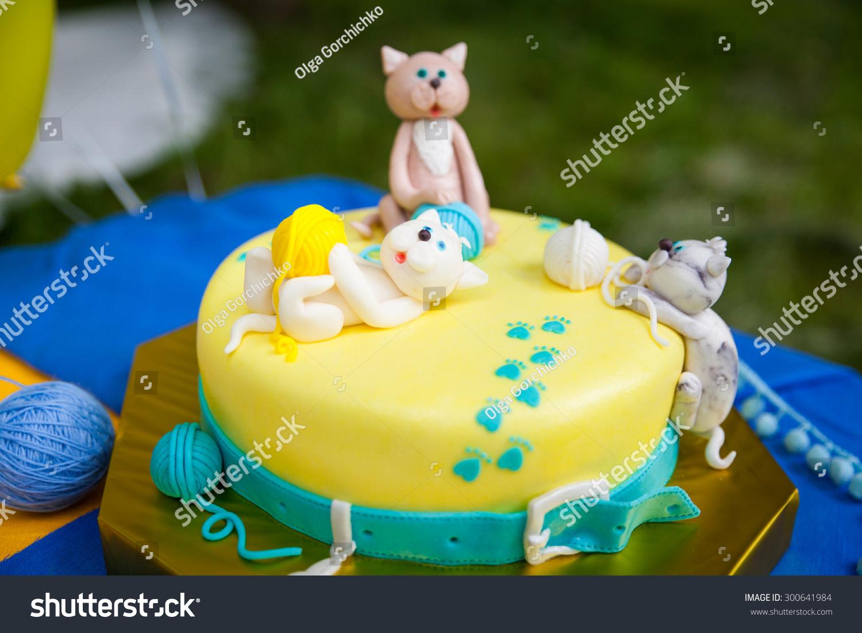 Birthday Cake Kittens Playing Yellow Turquoise Stock Photo Edit Now