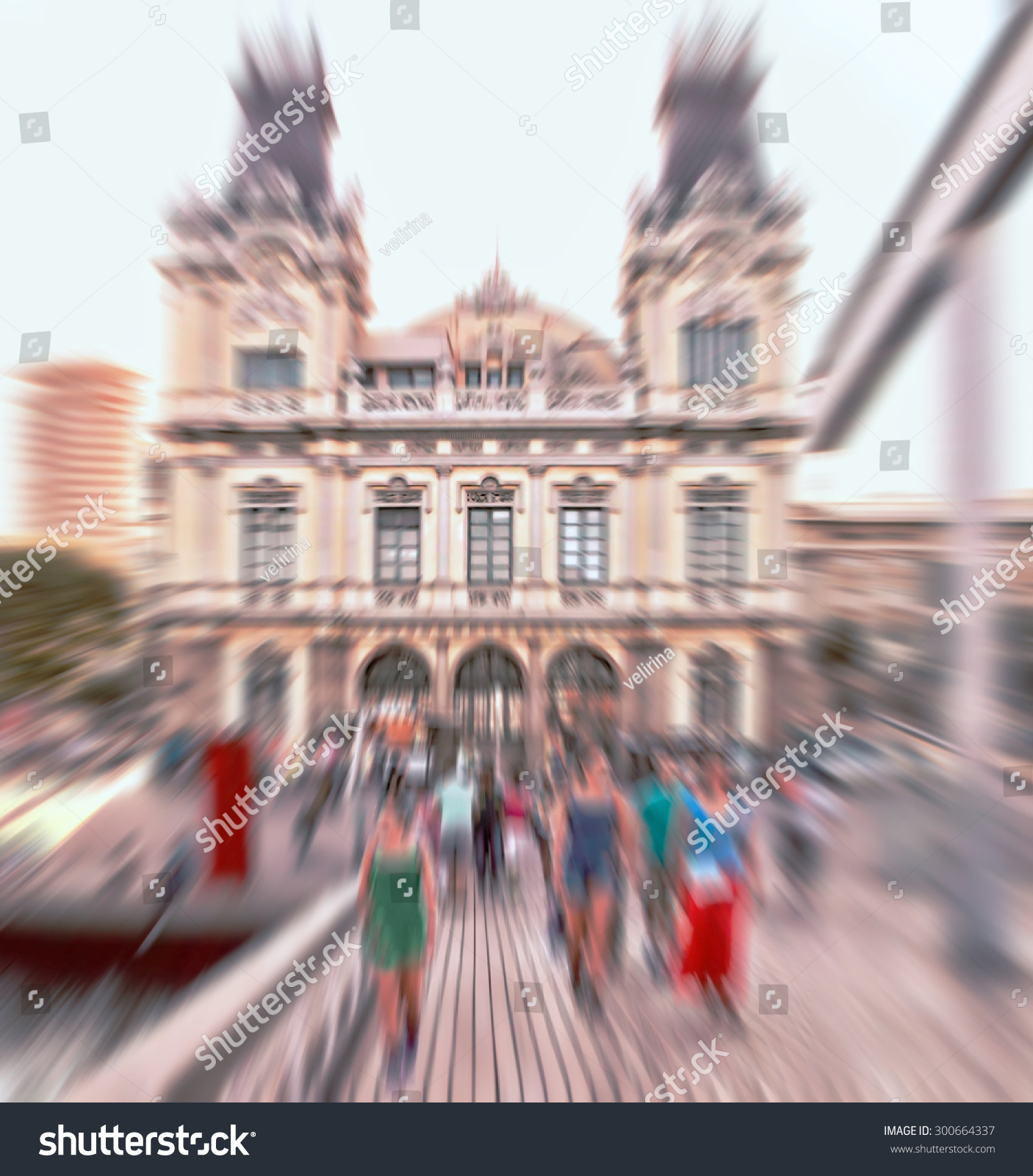 Abstract Background Pedestrians Front Port Barcelona Stock Photo Edit Now 300664337