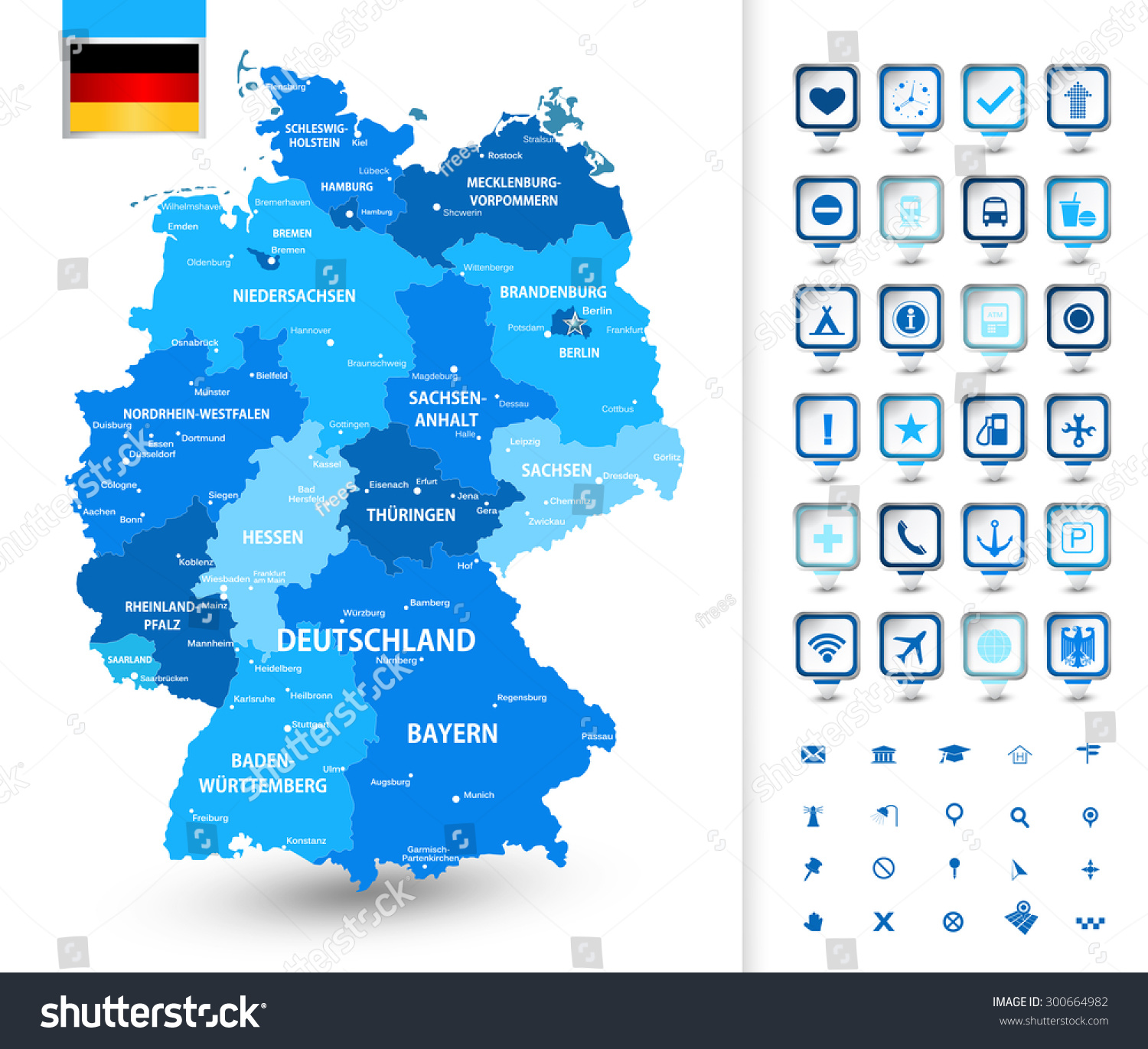 Highly Detailed Map Of Germany With Administrative Divisions – Map of German Cities and States