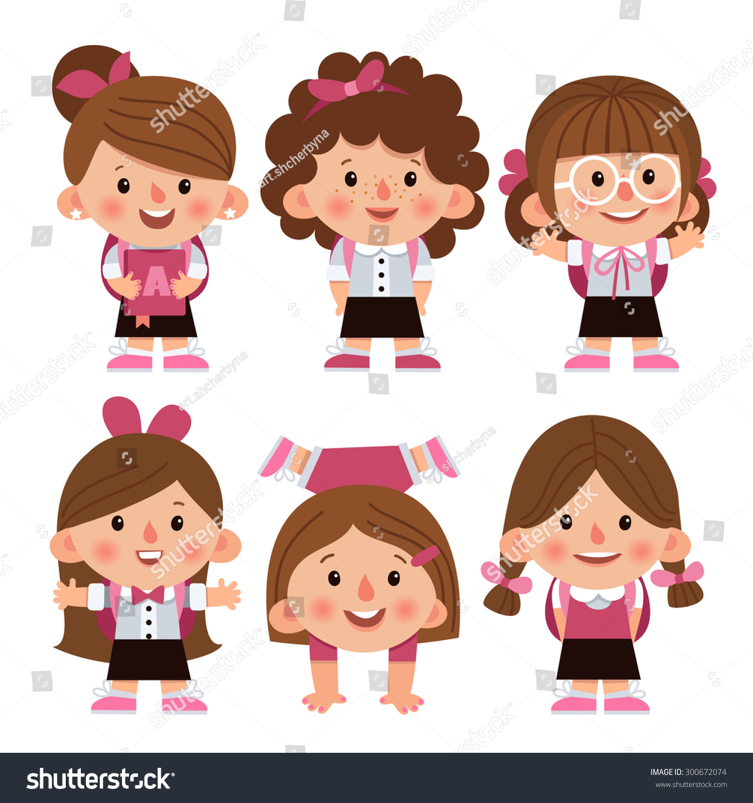 Set Cartoon Characters Girls Different Hairstyles Stock