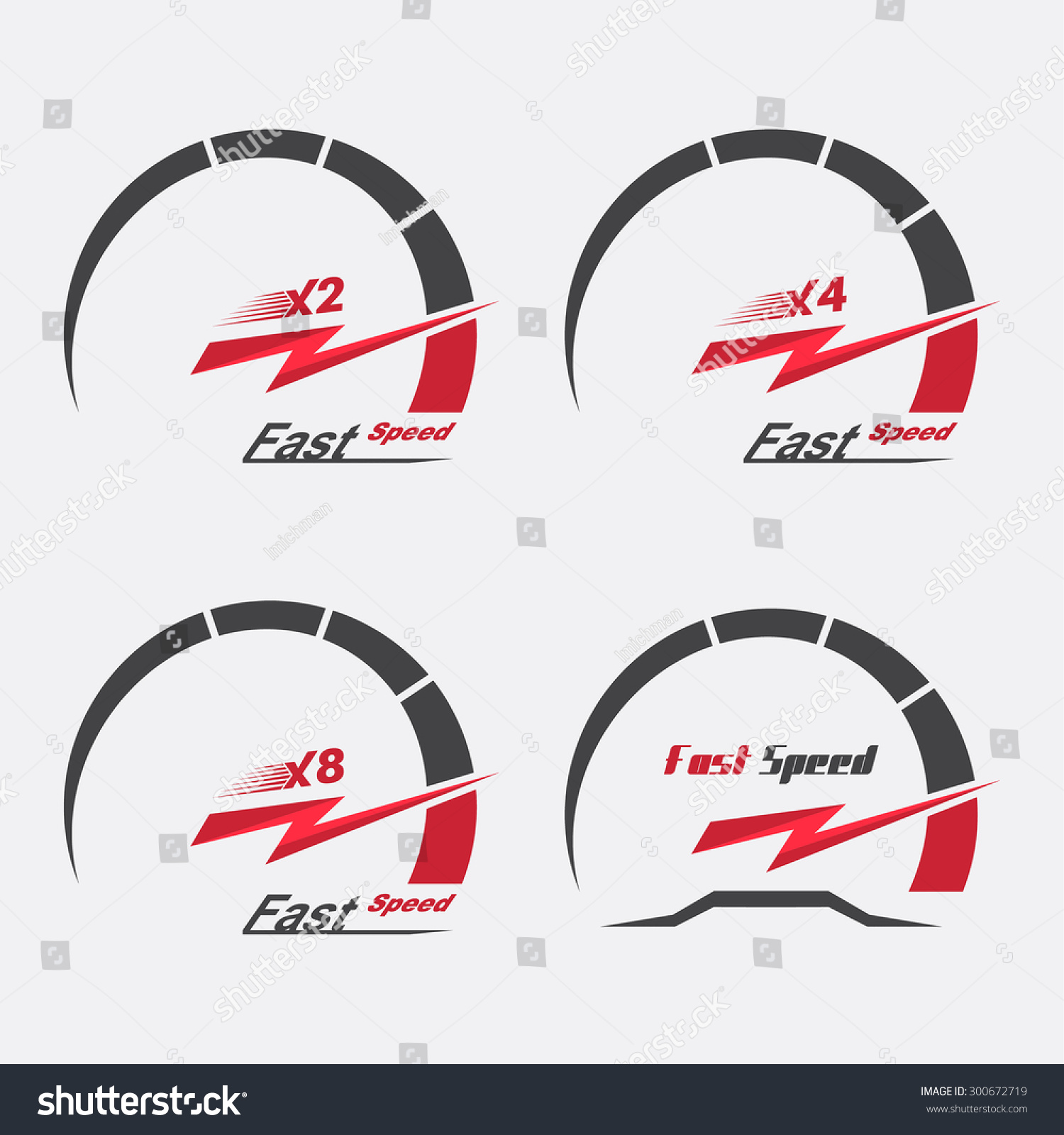 Set Four Speedometer Scale Concept Speed Stock Vector ...