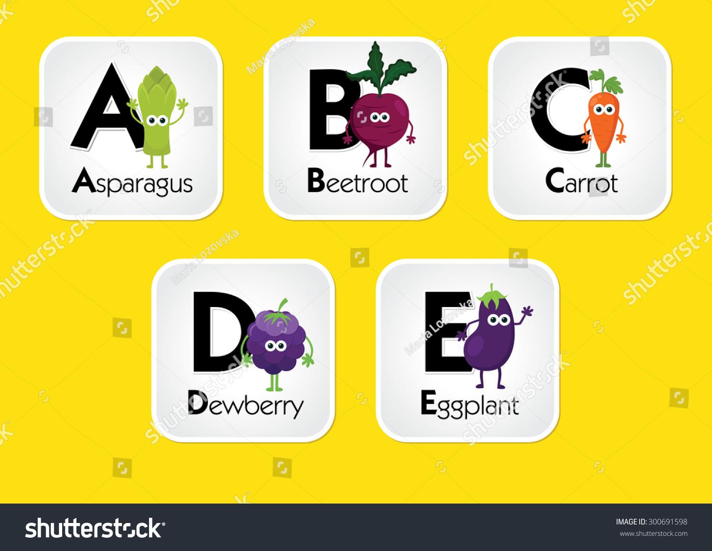 Fruit Vegetable Alphabet Chart Kids Eating Stock Vector (2018 ...
