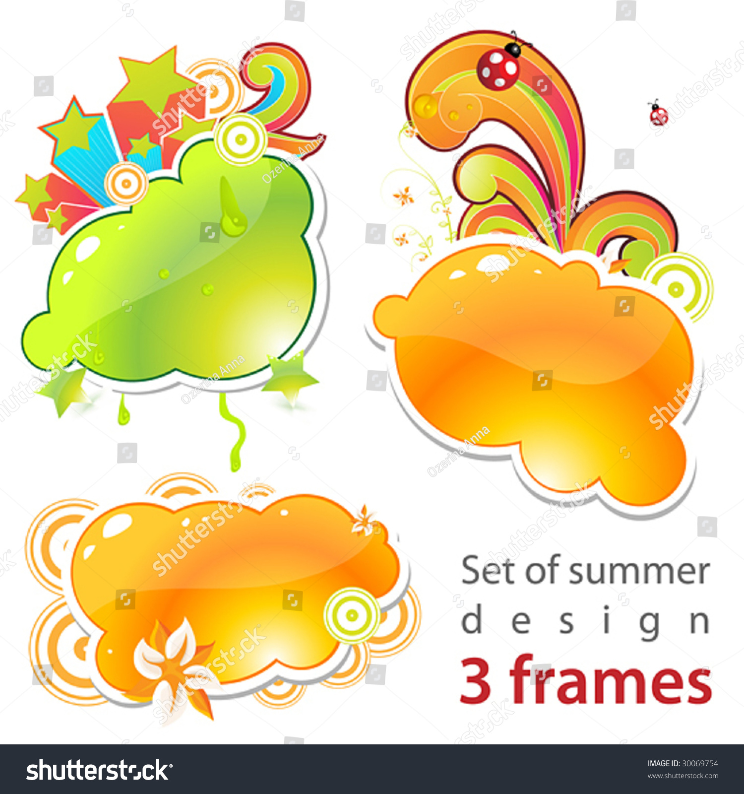 Set Summer Frames Stock Vector HD (Royalty Free) 30069754 - Shutterstock