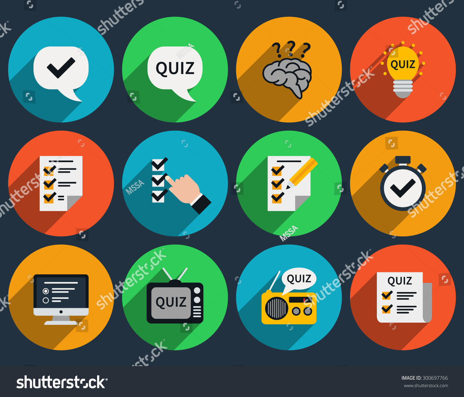 Quizzes - Mind Games And Quizzes Flat Icons Question And Answer Questionnaire And Sign Symbol