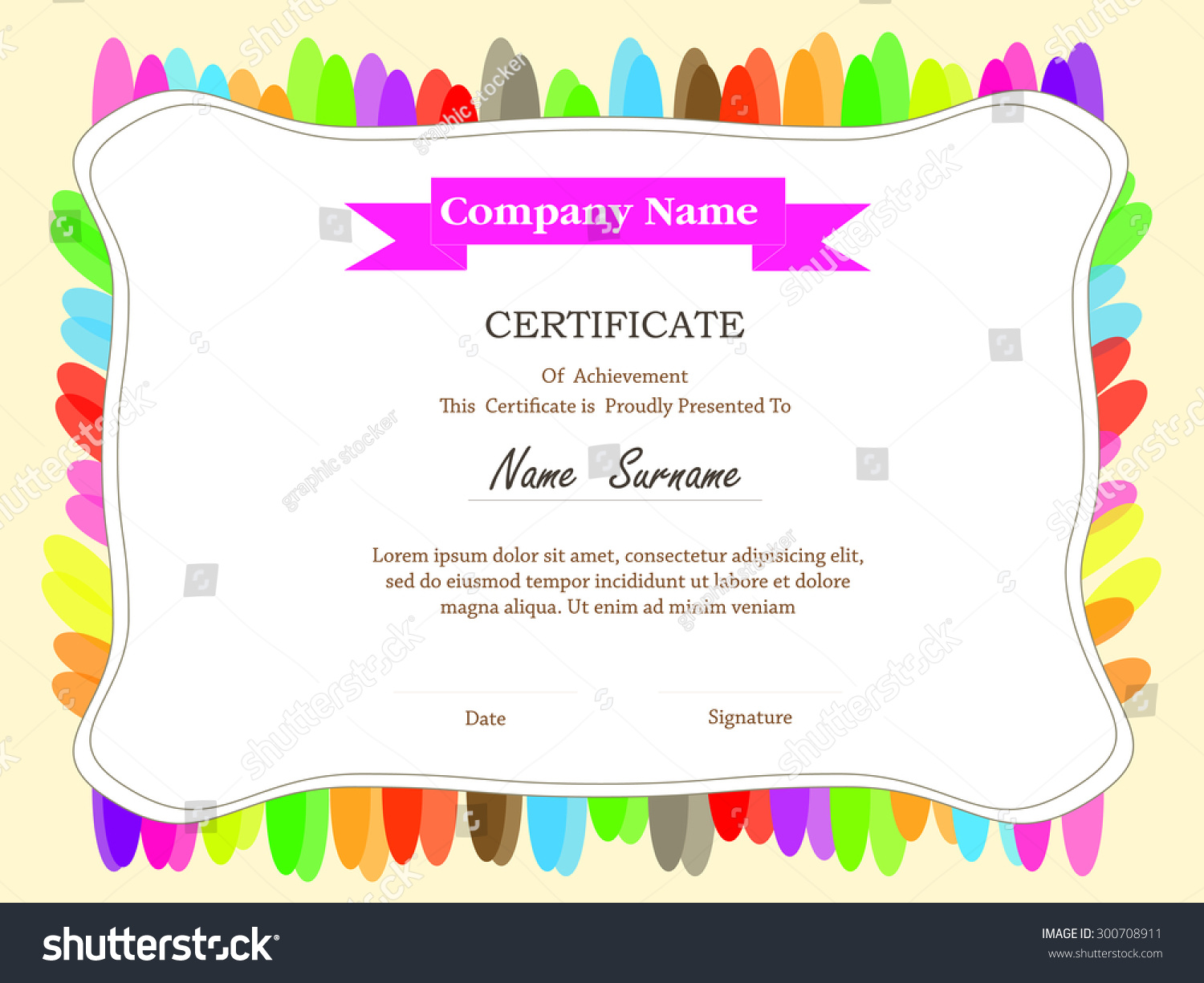 Colorful Certificate Template Additional Ribbon Design