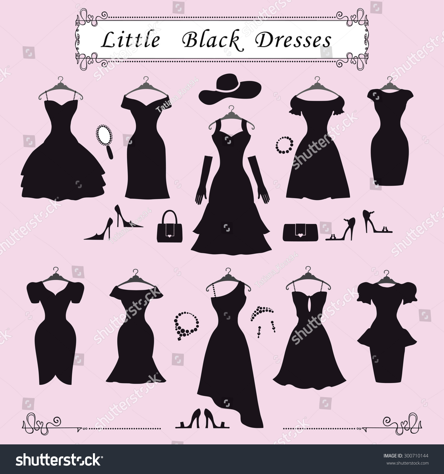 Fashion Dressdifferent Styles Little Black Party Stock Vector Royalty Free 300710144