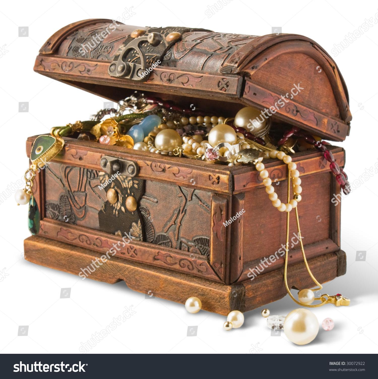 treasure chest isolated on white background stock illustration