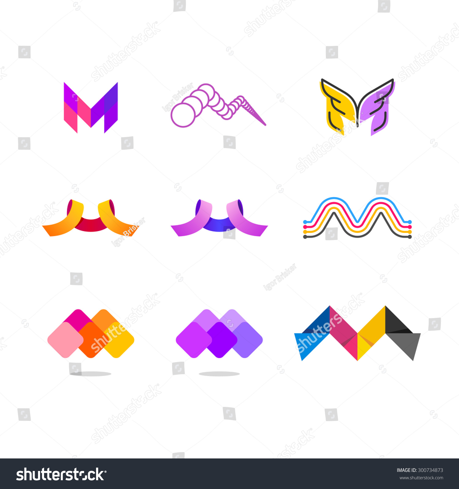 Letter M  Different Graphic Styles Stock Vector